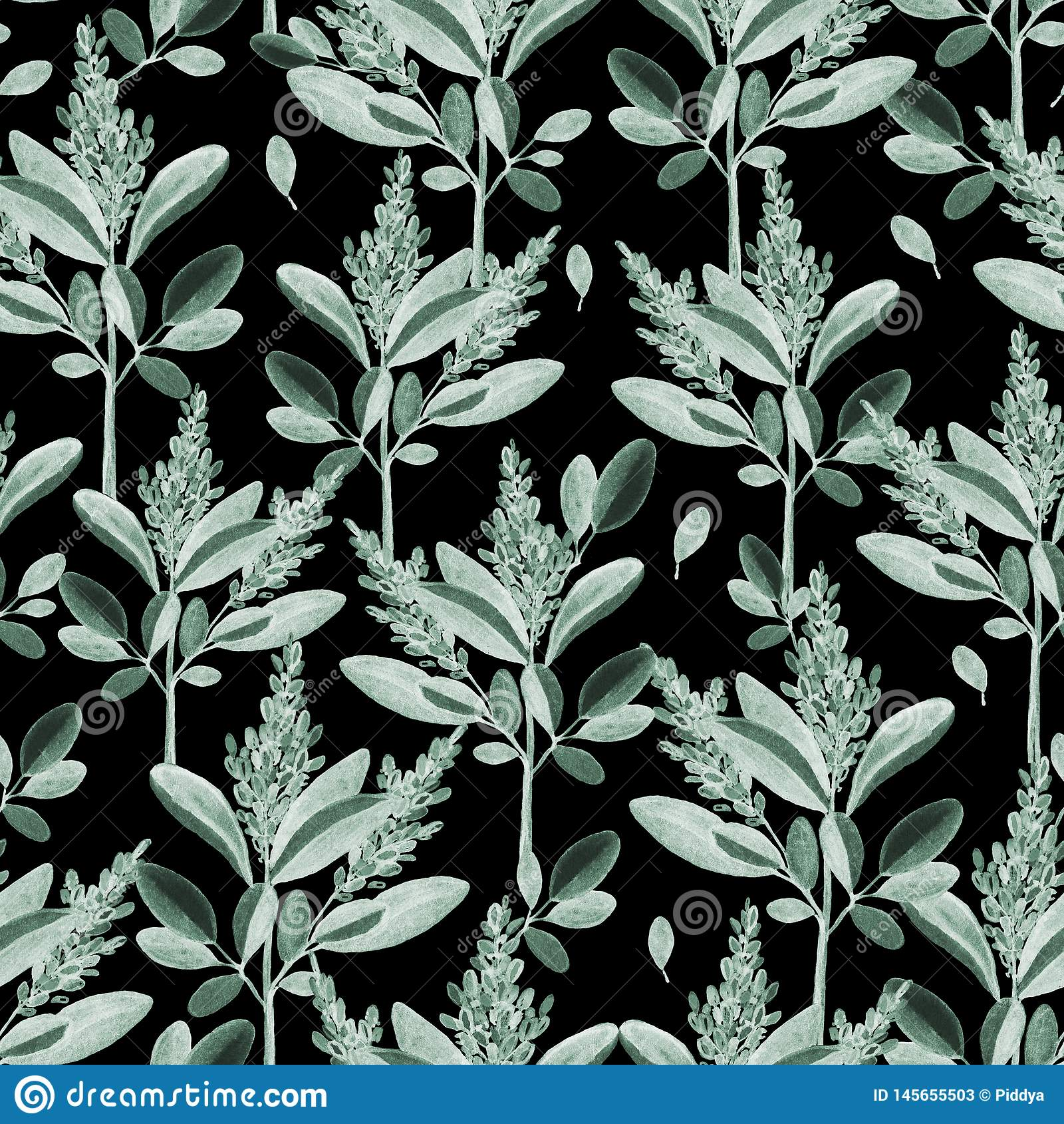 Seamless pattern with watercolor  branches and leaves.