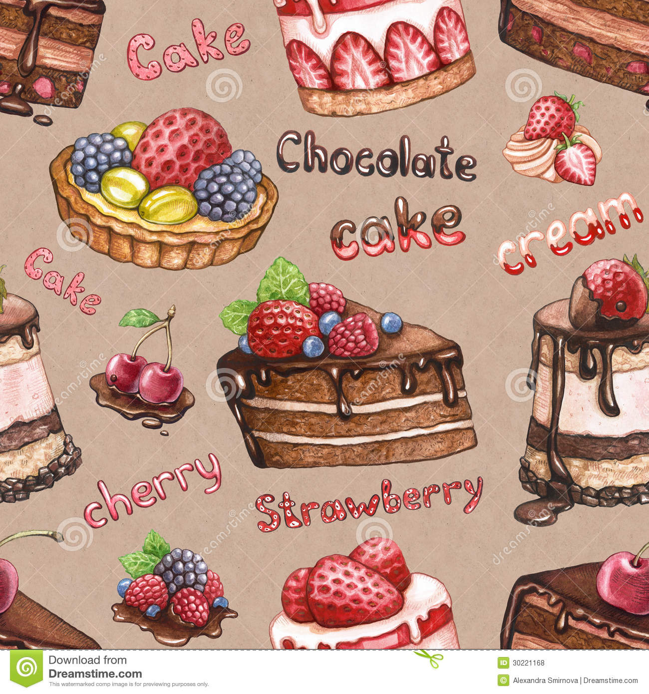 Seamless Pattern With Cake Illustrations Royalty Free