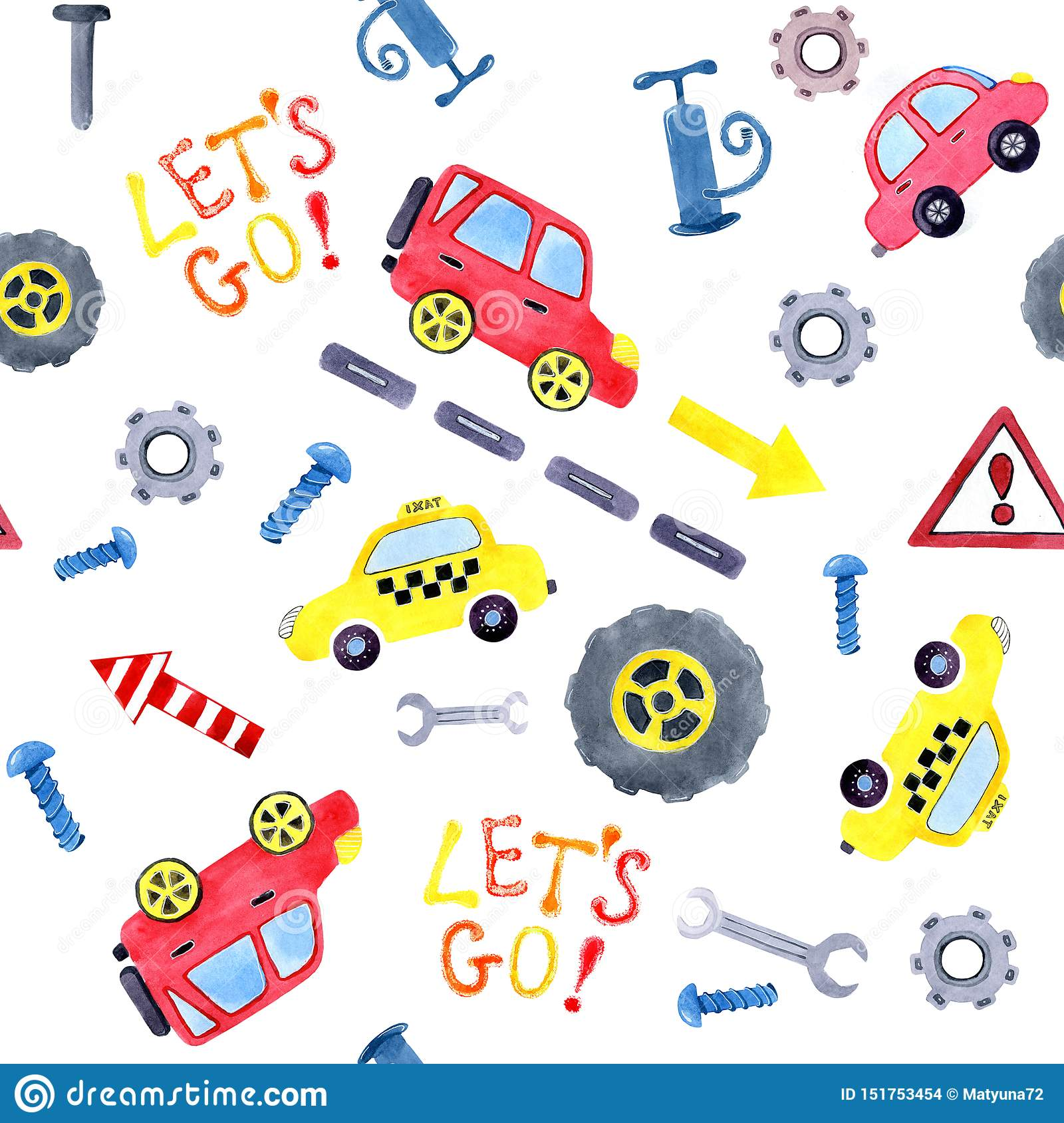 Seamless Pattern With Watercolor Cartoon Cars And Spare Parts