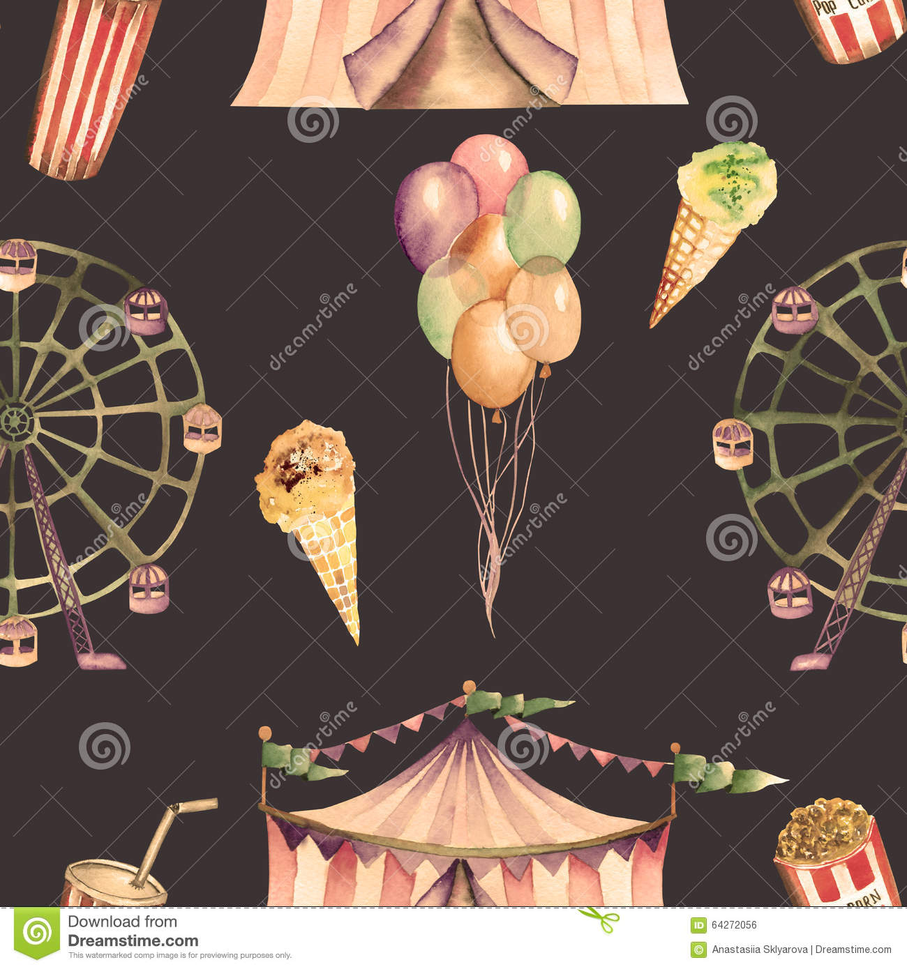 Seamless Pattern With Hand Drawn Watercolor Ice Cream: A Seamless Pattern With The Watercolor Circus Elements
