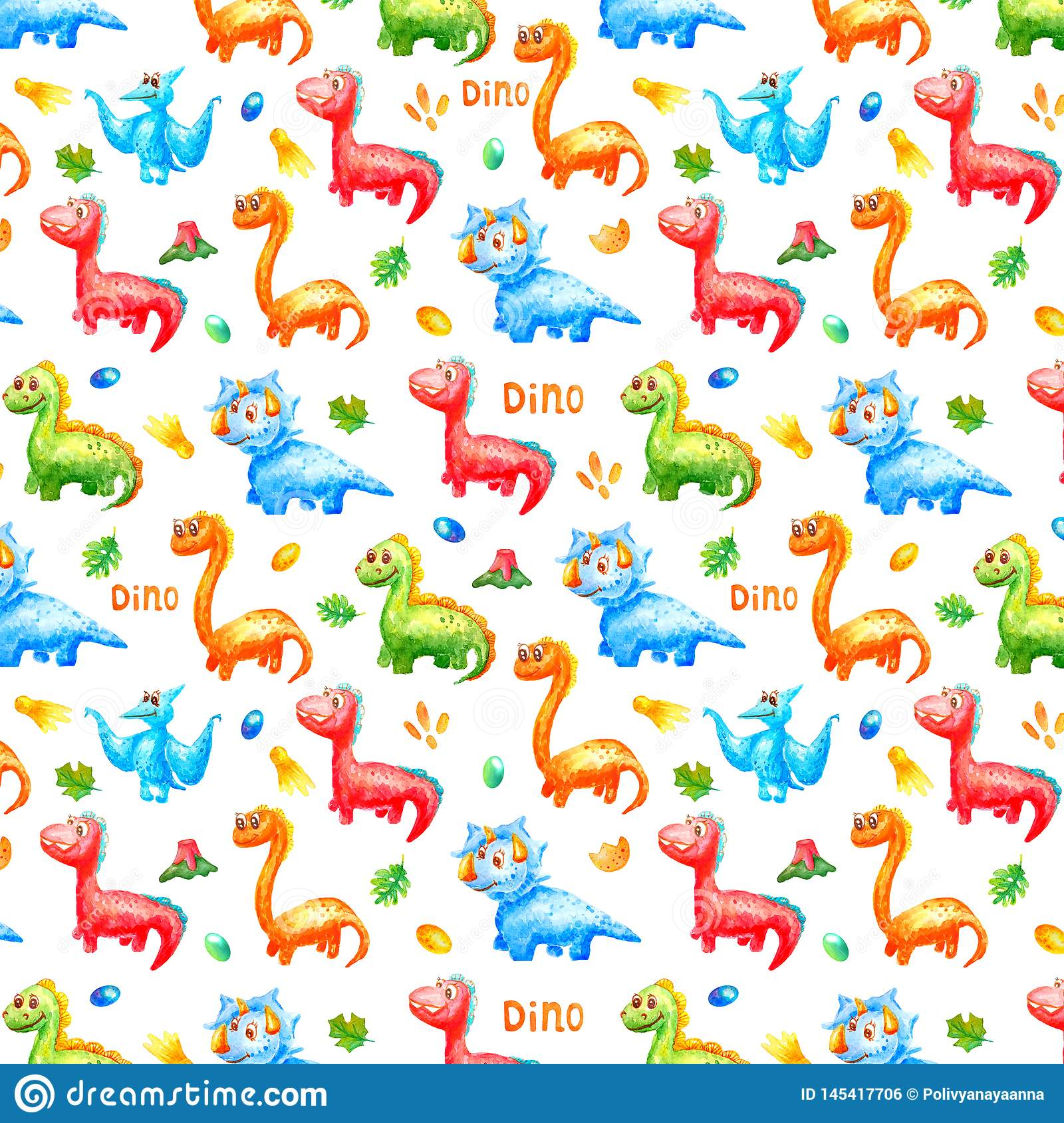 Pattern watercolor colorful dinosaurs with eggs, trace, volcano ana leafs on white background. Wallpaper or print or