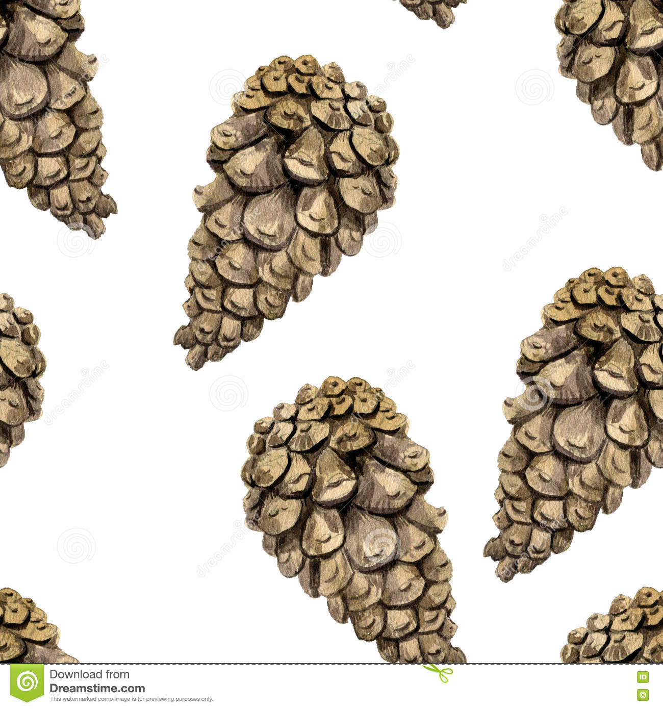 Pine Cone Illustration Seamless Pattern With ...