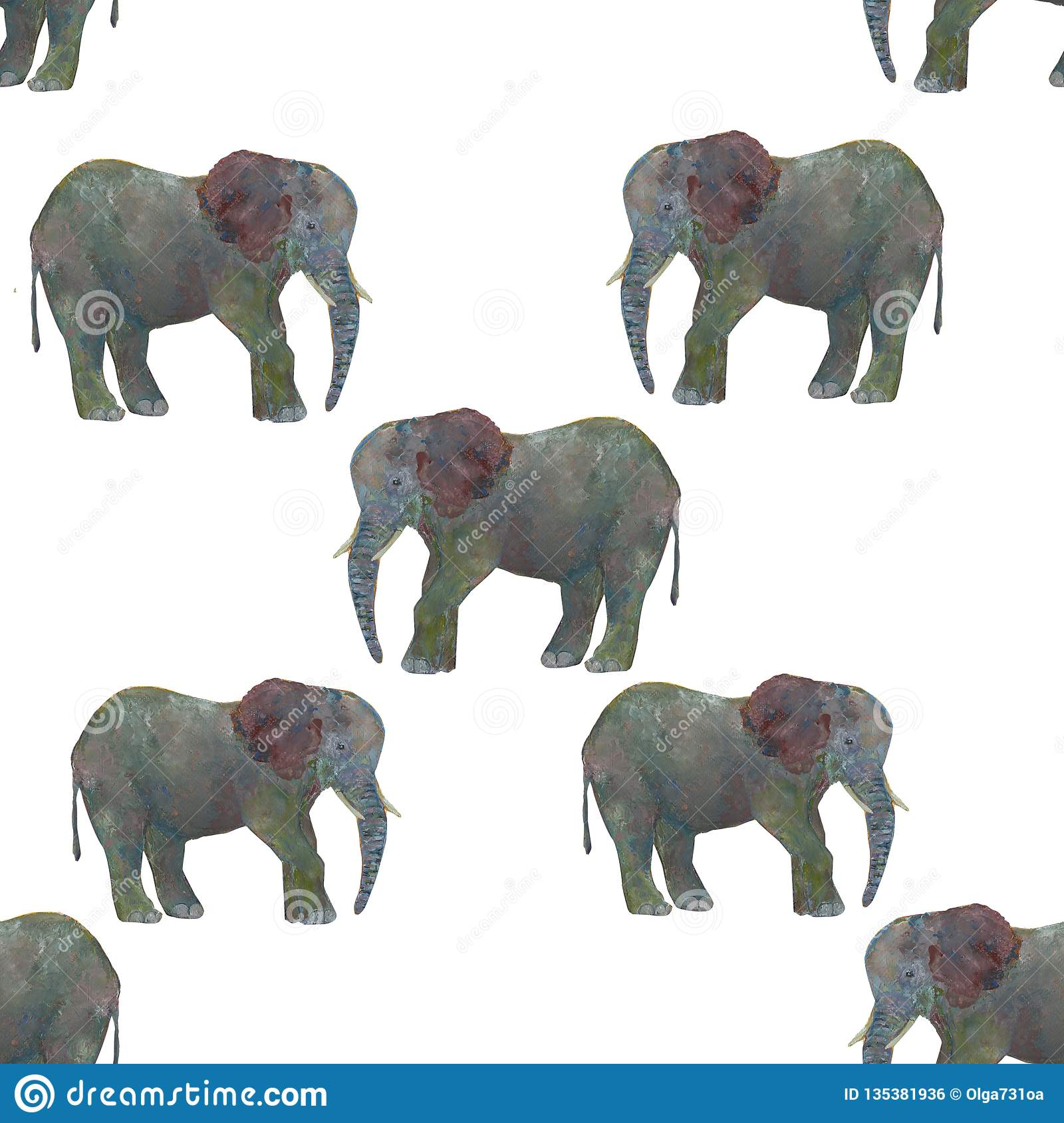 Seamless pattern watercolor elephant isolated on white background