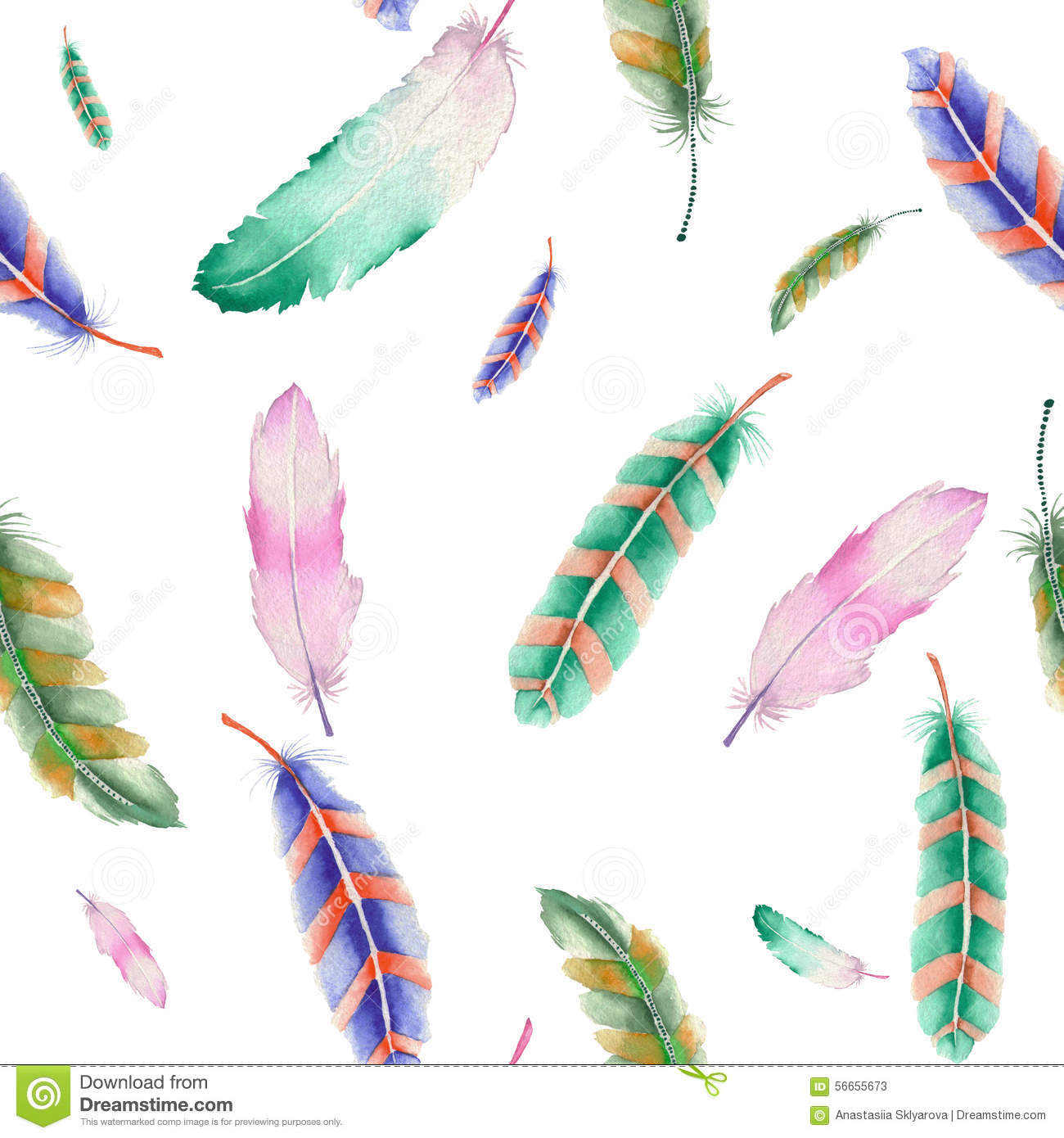 Colorful Feathers Seamless Patterns  Creative Market