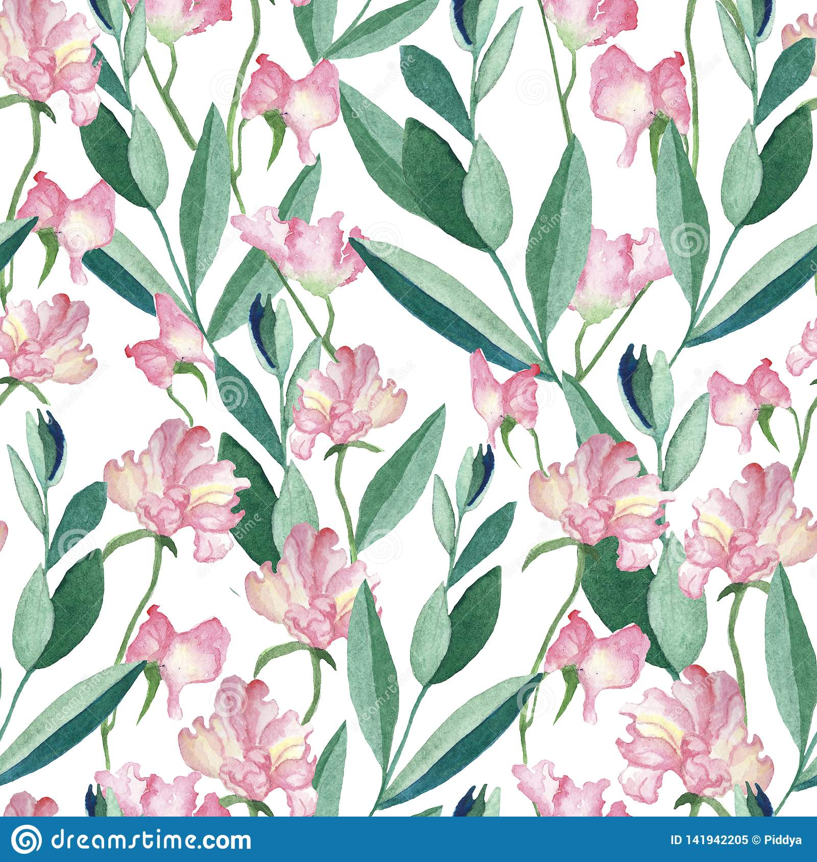 Seamless pattern with watercolor flowers and leaves
