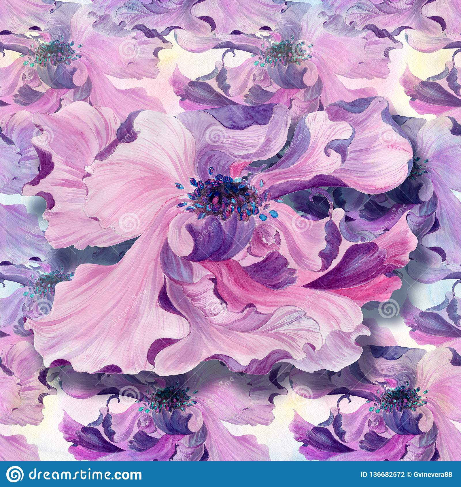 Seamless Pattern. Watercolor. Flowers On A Watercolor ...