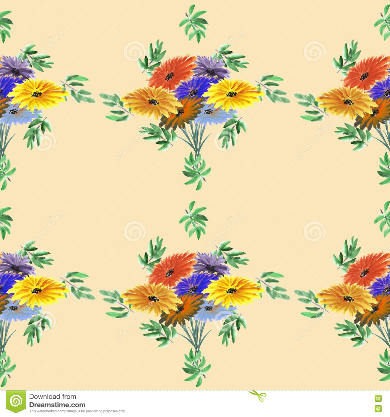 Seamless pattern watercolor of green leaves and bright flowers on a beige background. Geometric