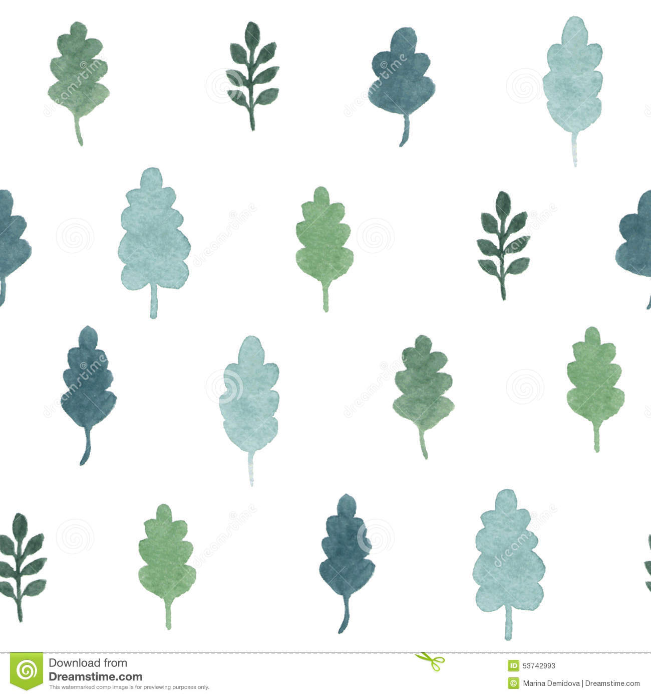 Seamless pattern with watercolor hand draw leaves and branches