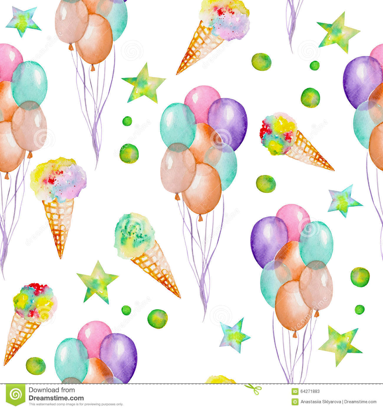 Seamless Pattern With Hand Drawn Watercolor Ice Cream: A Seamless Pattern With The Watercolor Hand Drawn Party Or