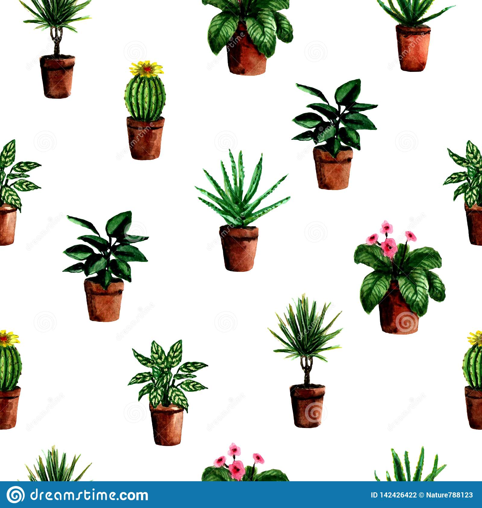 Seamless pattern with watercolor hand painted house green plants in pots For fabric textile, scrapbooking or wrapping paper design