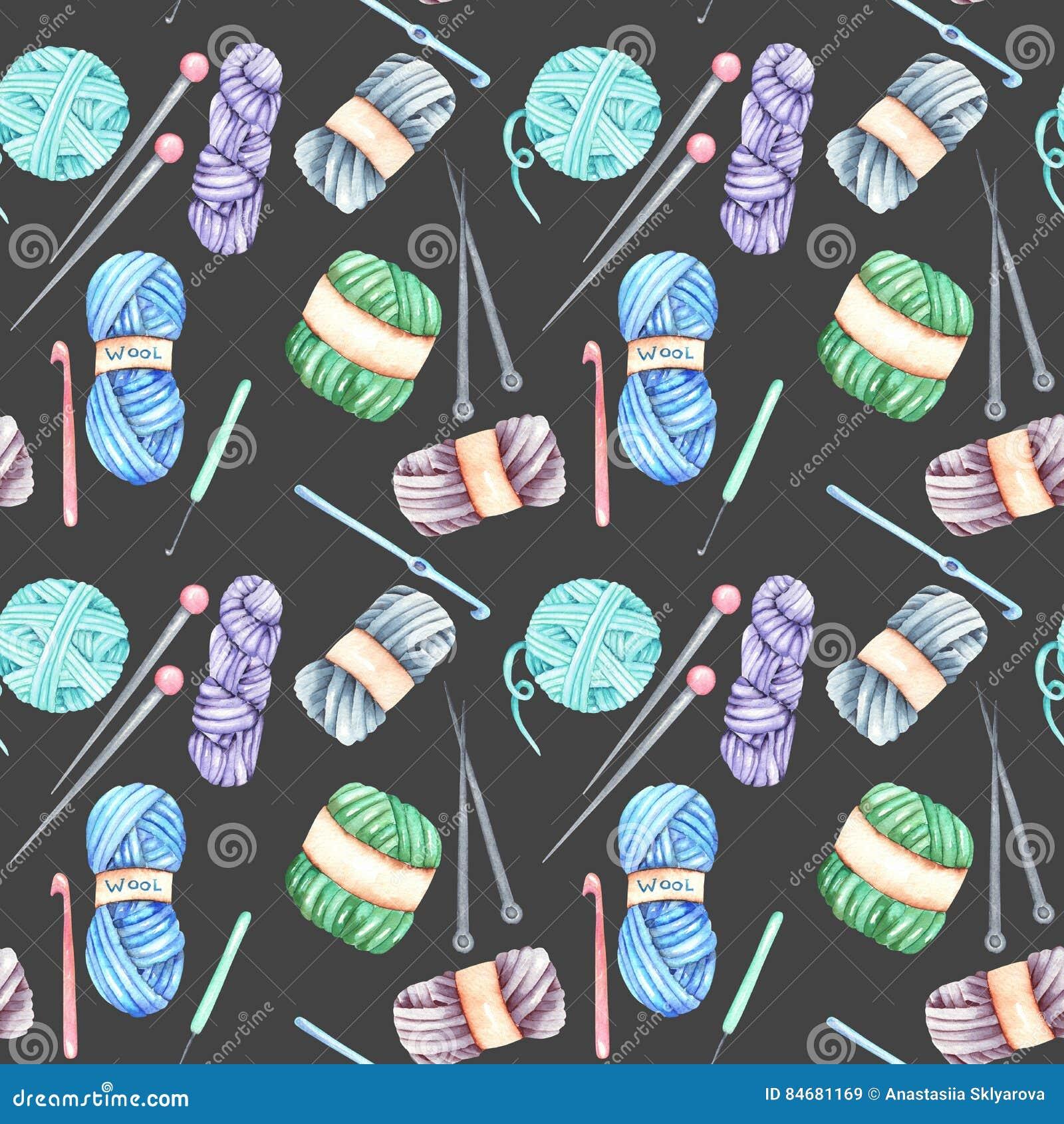 Seamless Pattern With Watercolor Knitting Elements: Yarn, Knitting ...