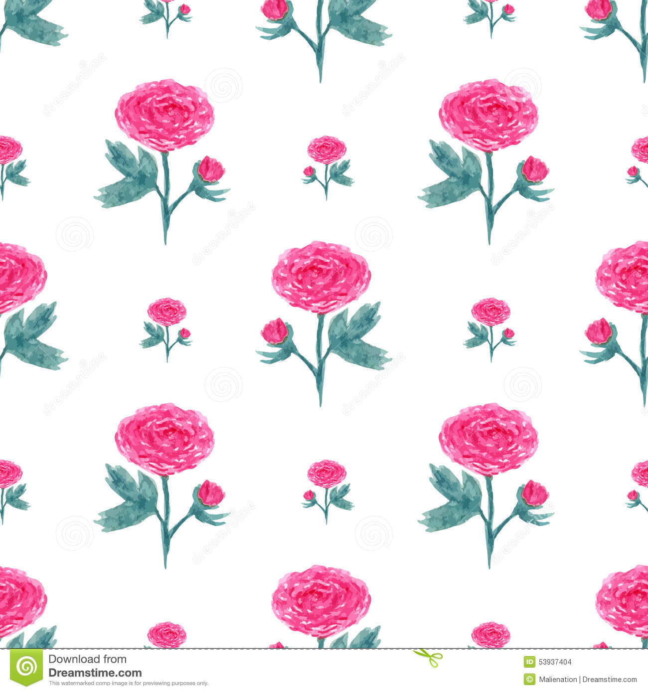 Seamless Pattern With Watercolor Peony Vector Illustration With Pink Flowers Floral Background