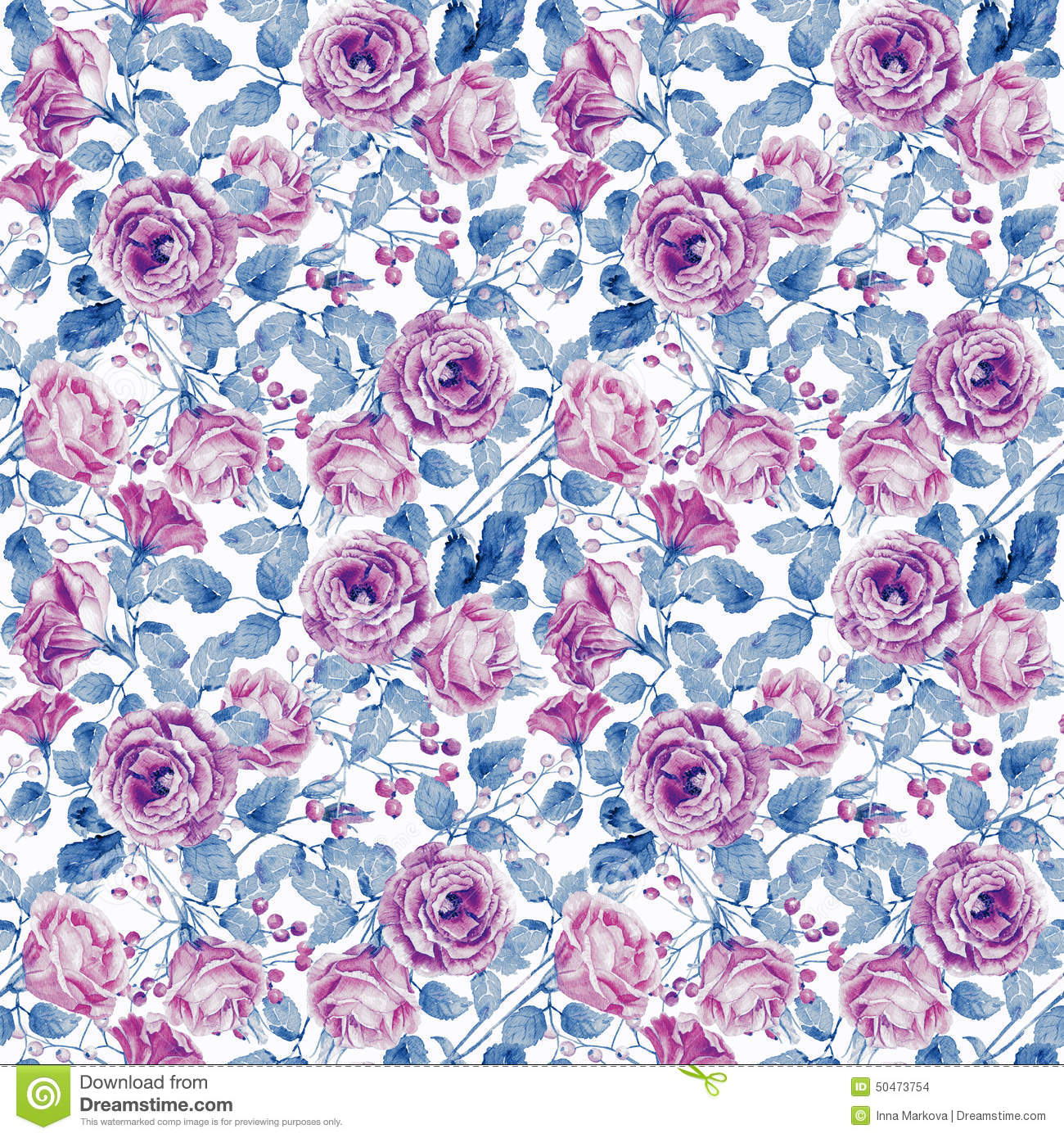 Seamless pattern of watercolor pink roses stock illustration seamless pattern of watercolor pink roses leaf paper mightylinksfo