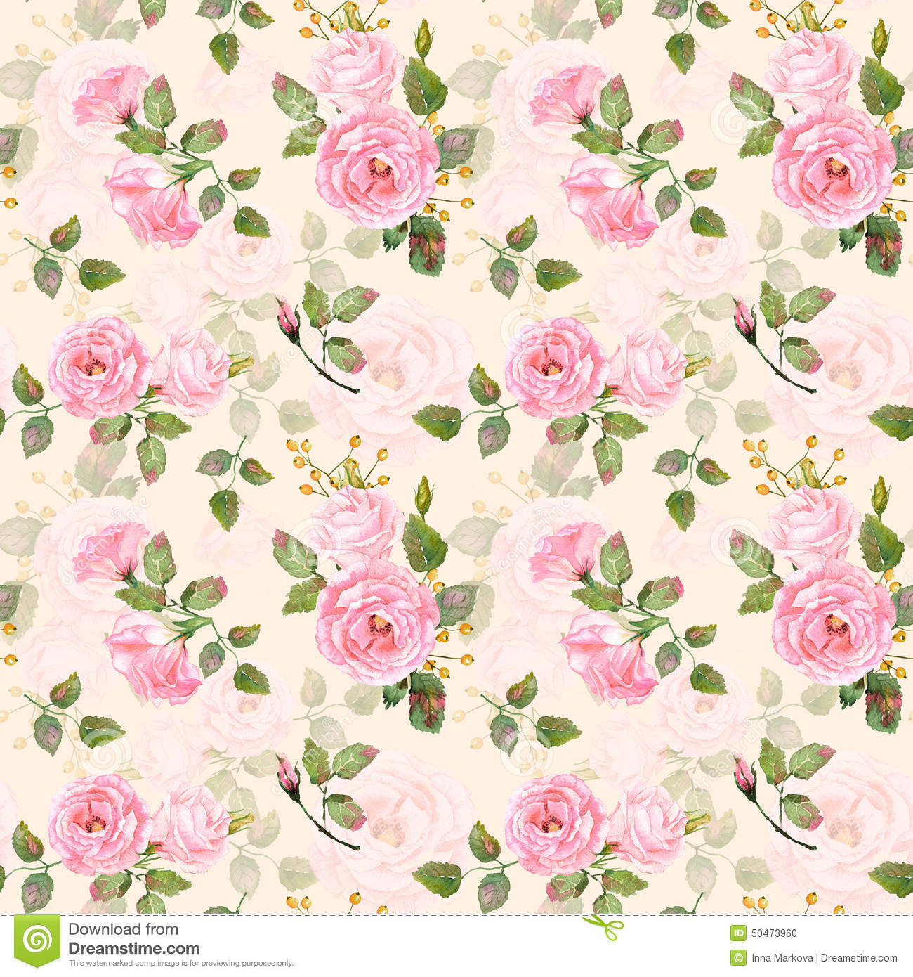 Seamless Pattern Of Watercolor Pink Roses Stock