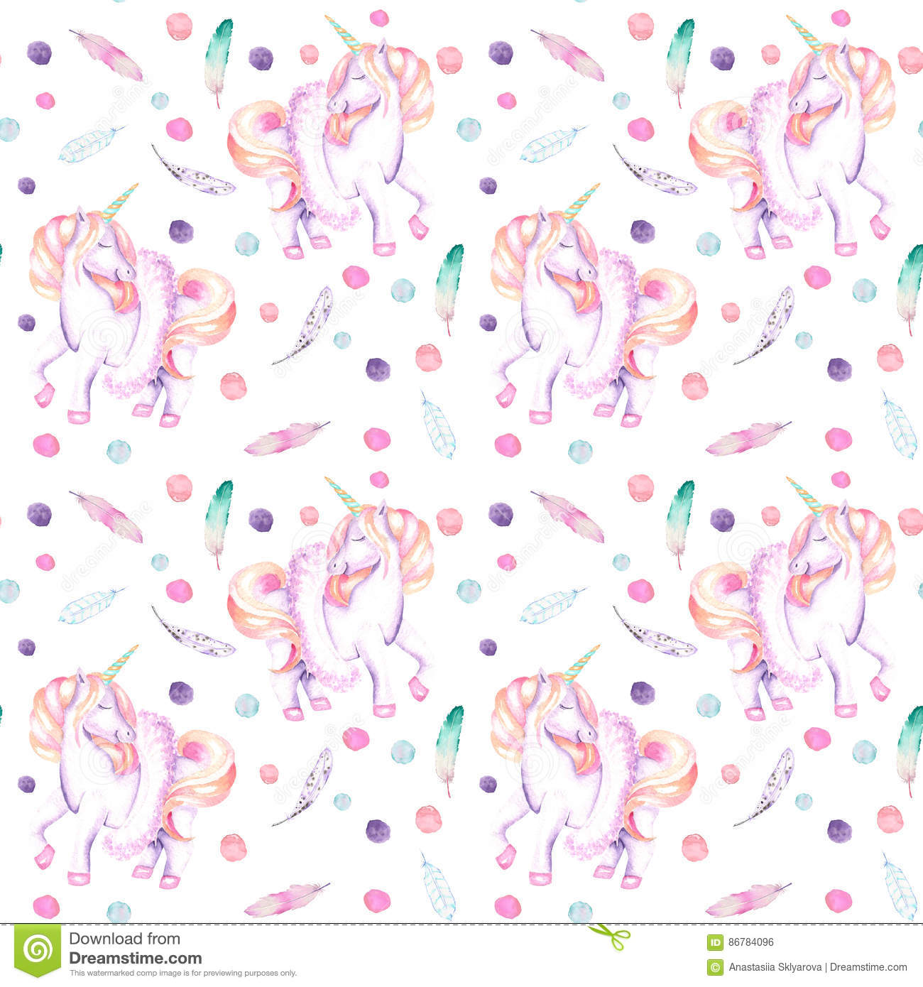 Download Seamless Pattern With Watercolor Pink Unicorn In Tutu, Feathers And Confetti Stock Illustration - Illustration of fabric, dancer: 86784096