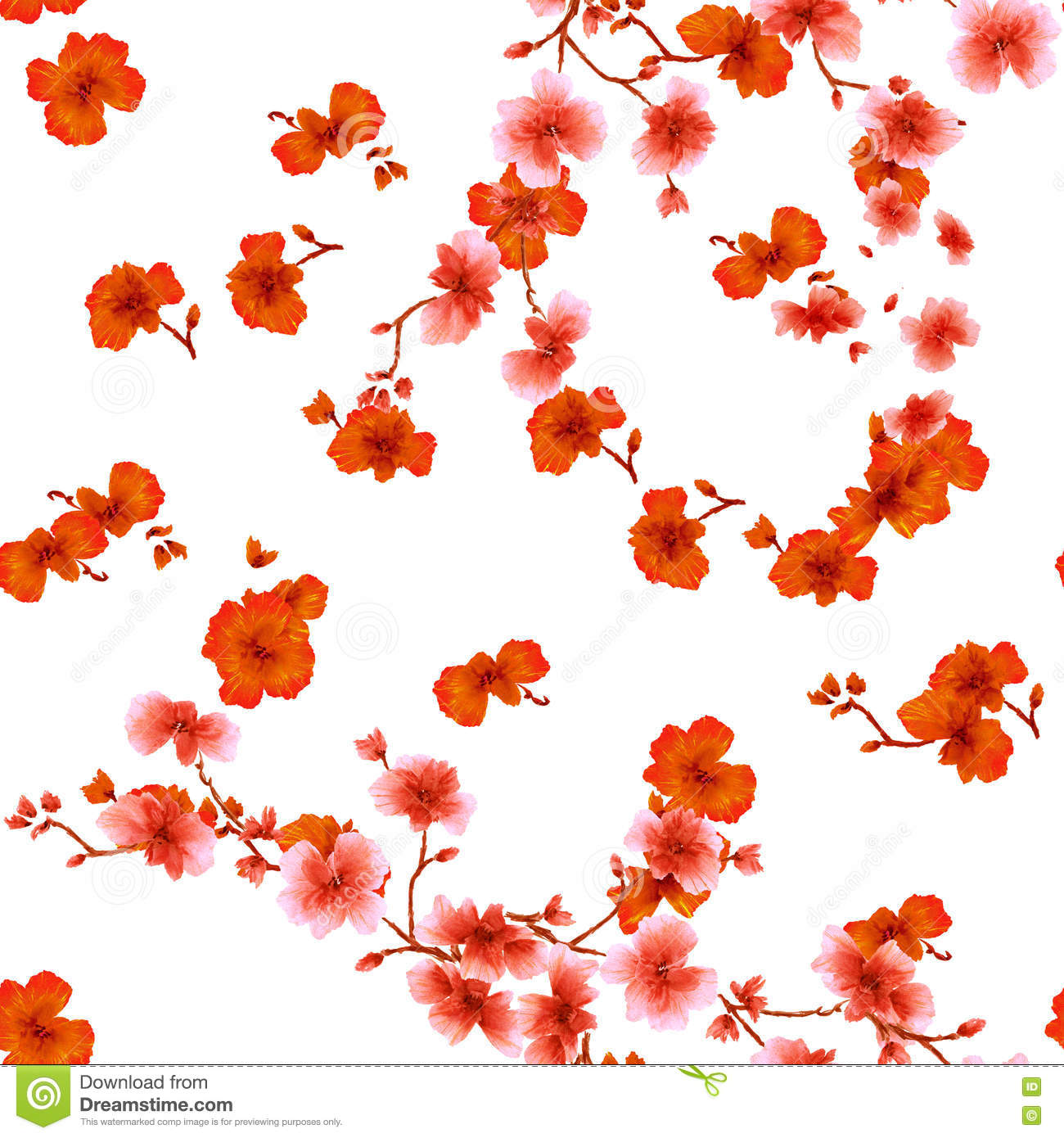 Seamless Pattern Watercolor Red Flowers On A White