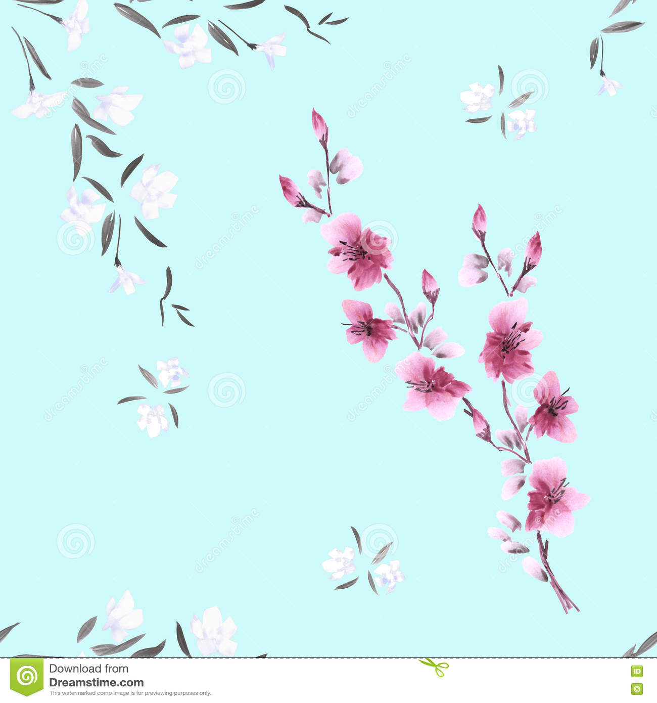 Seamless Pattern Watercolor Small White And Pink Flowers On The