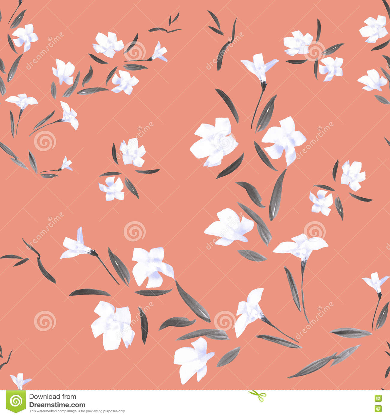 Seamless pattern watercolor white flowers on a coral background download comp mightylinksfo