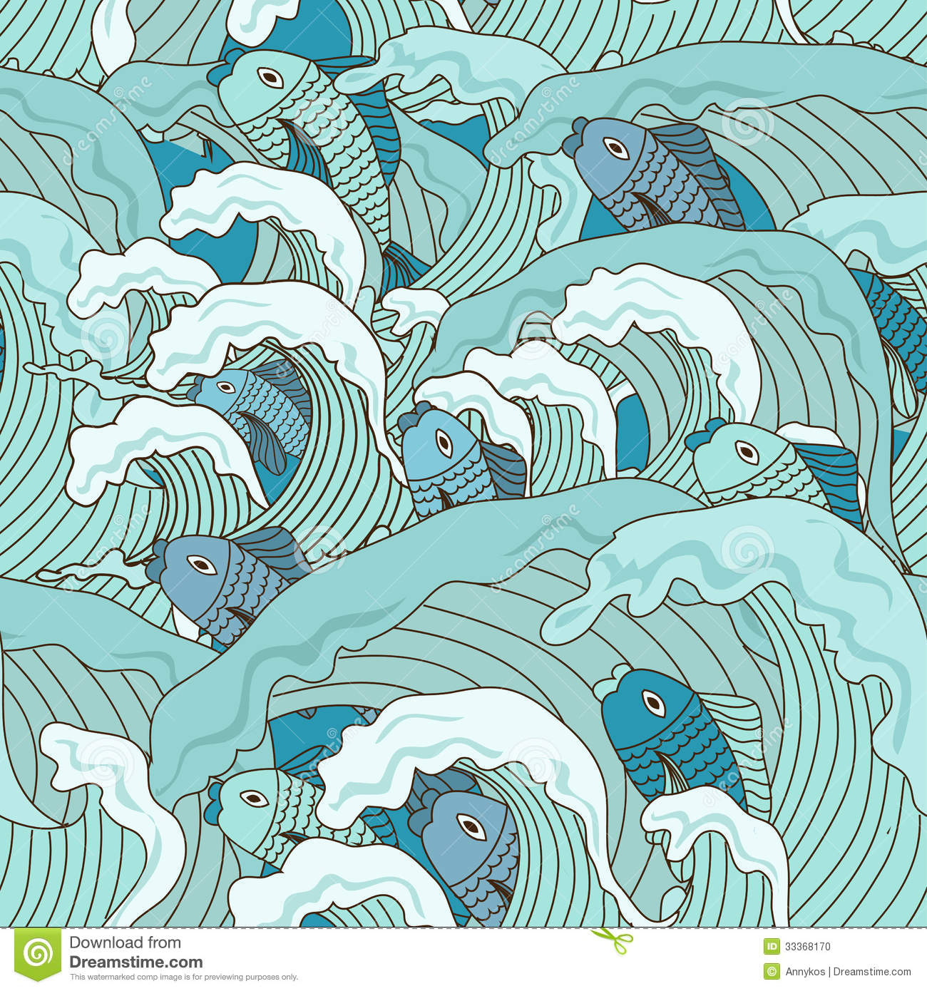 Seamless Pattern Of Waves And Fish Stock Vector - Image ...