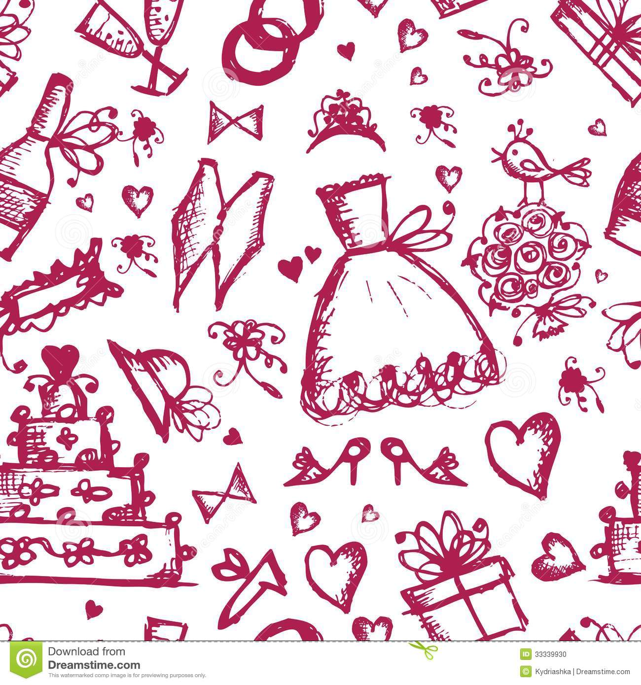 Seamless Pattern With Wedding Design Elements Stock Vector