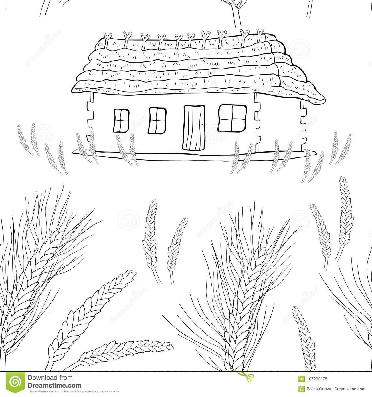 Seamless Pattern Wheat Germ Coloring Of A House With Thatched Roof ...