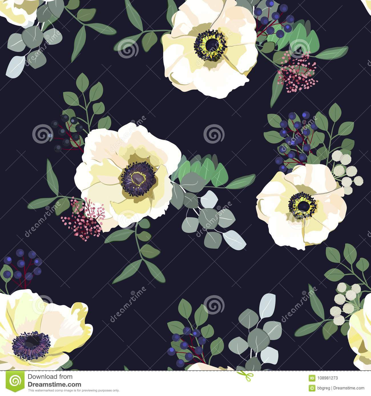 Seamless Pattern With White Anemone Flowers Berries And Greenery On Dark Background Winter Floral Design For Wedding Stock Vector Illustration Of Element Nature 108981273