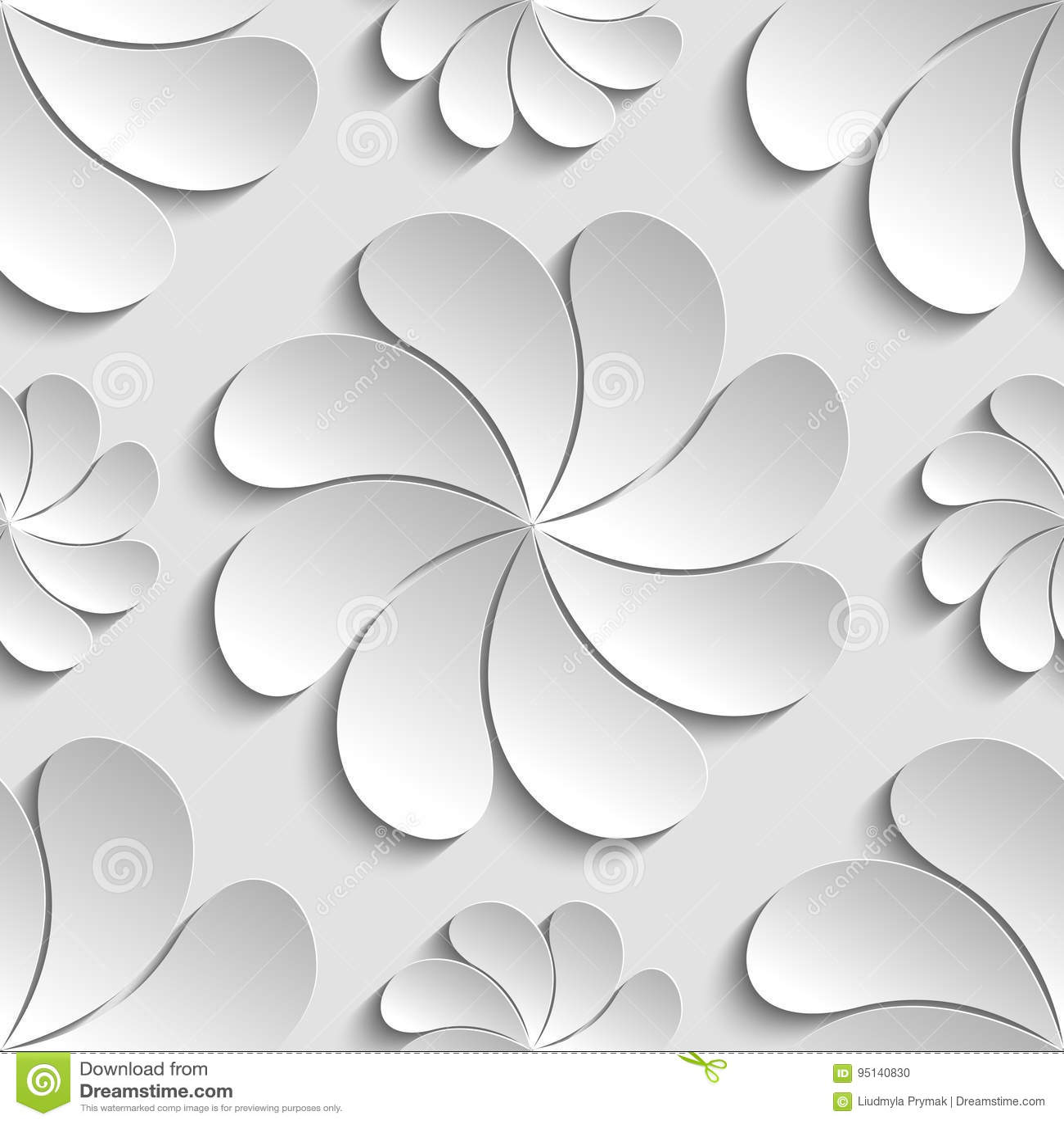 Seamless Pattern White 3d Paper Flower ...
