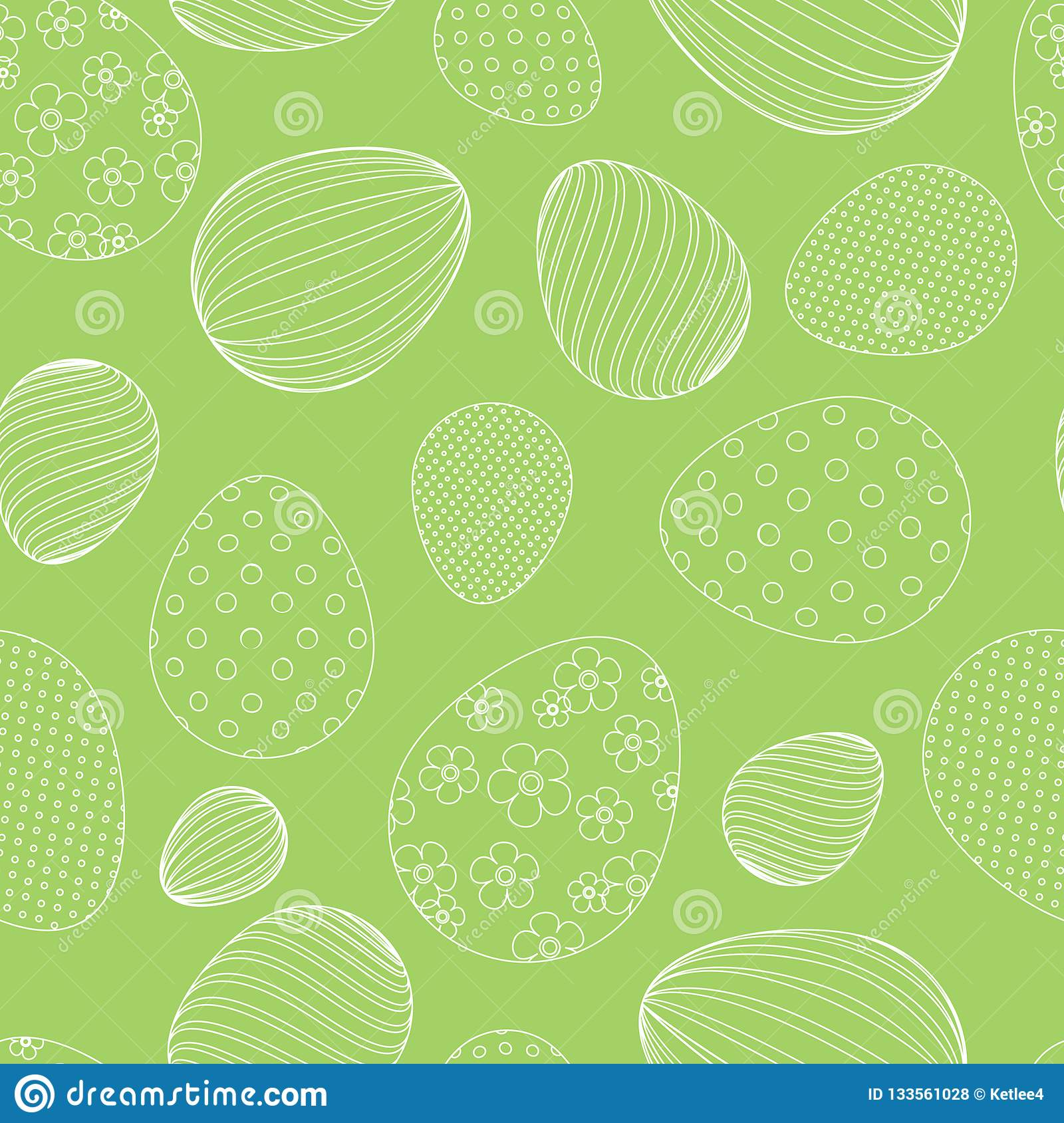Seamless pattern from white easter eggs on a green background Decorative festive background for design of tags cards banners