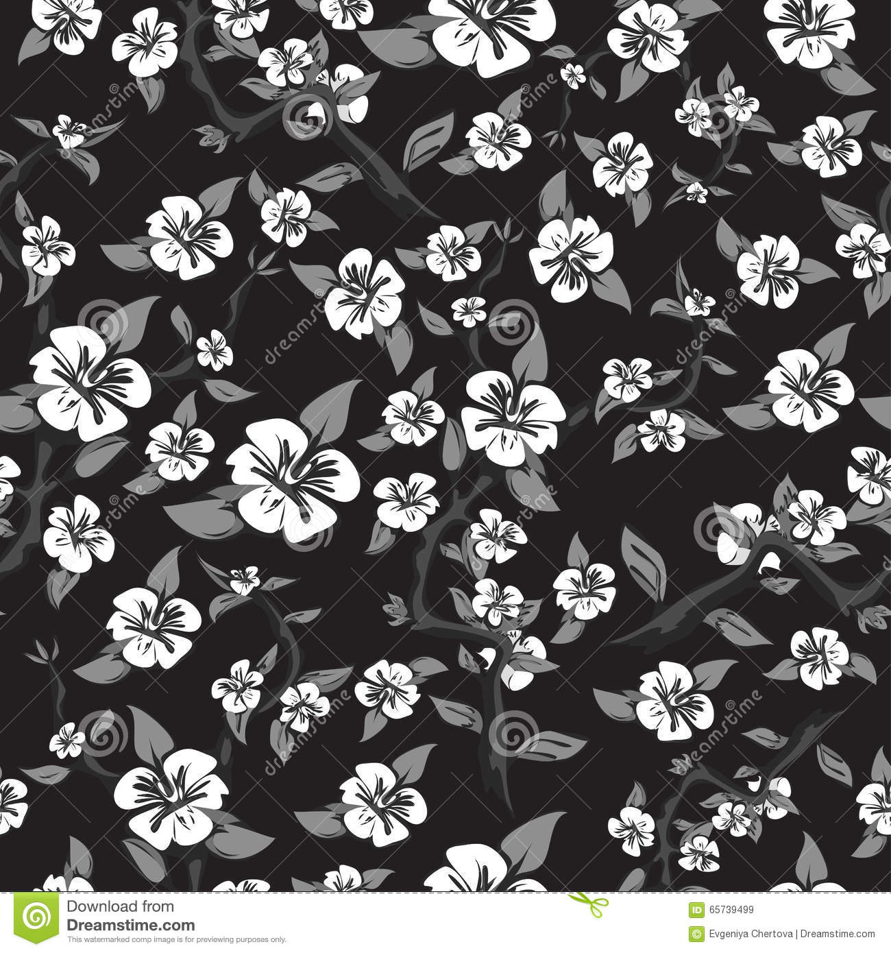 Seamless Pattern Of White Flowers On A Black Background Abstract