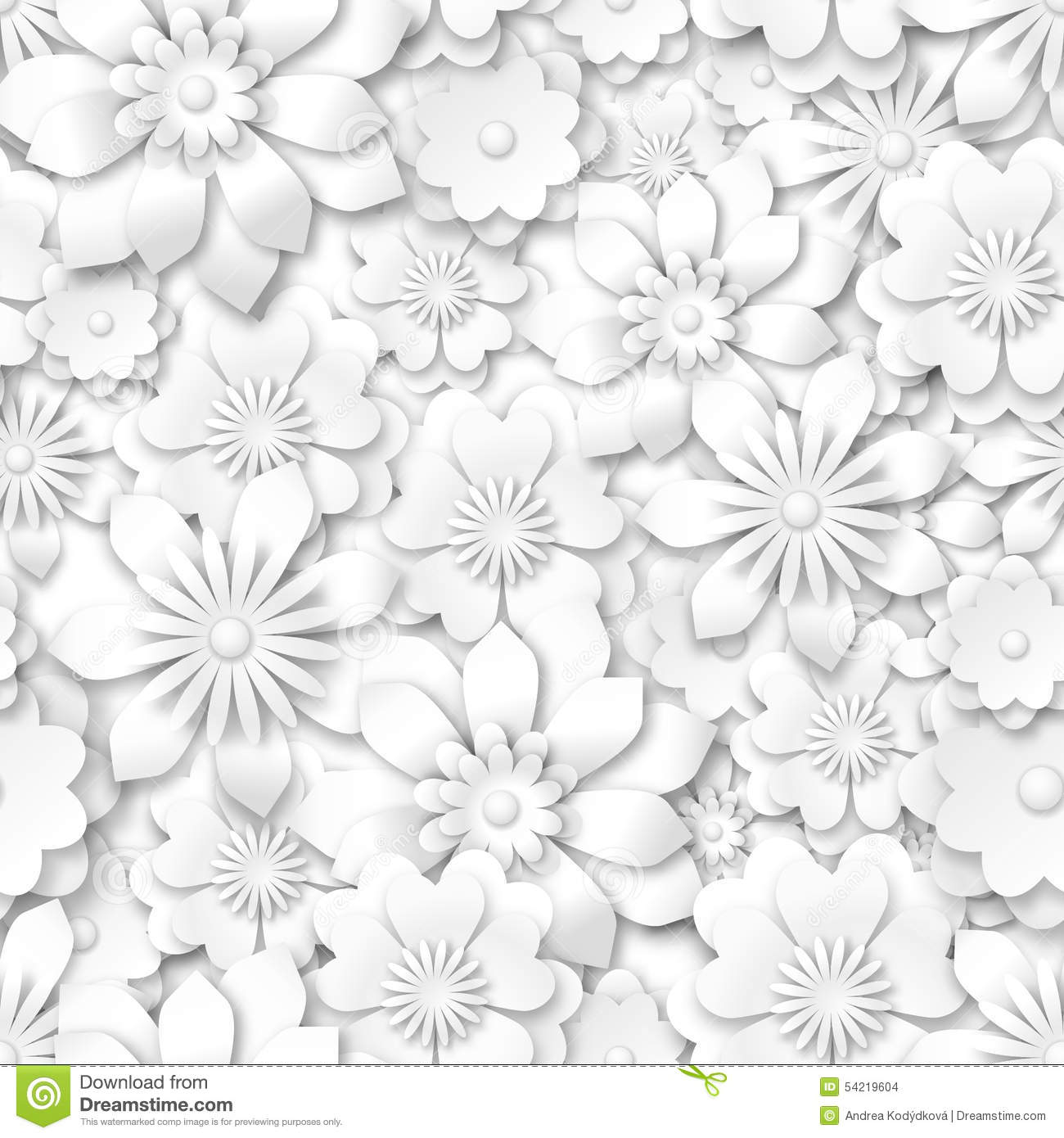 Seamless pattern white flowers with 3d effect stock for 3d white flower wallpaper
