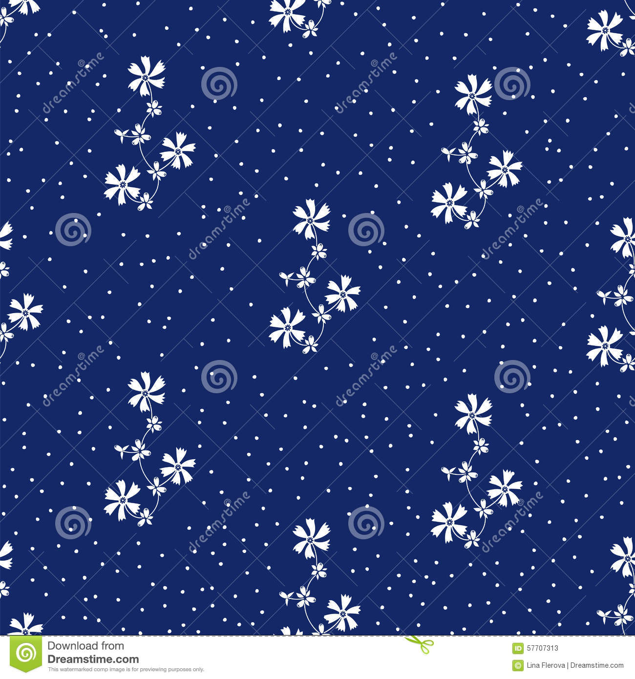 Vector seamless pattern with the white flowers on navy blue vector seamless pattern with the white flowers on navy blue background and dots mightylinksfo