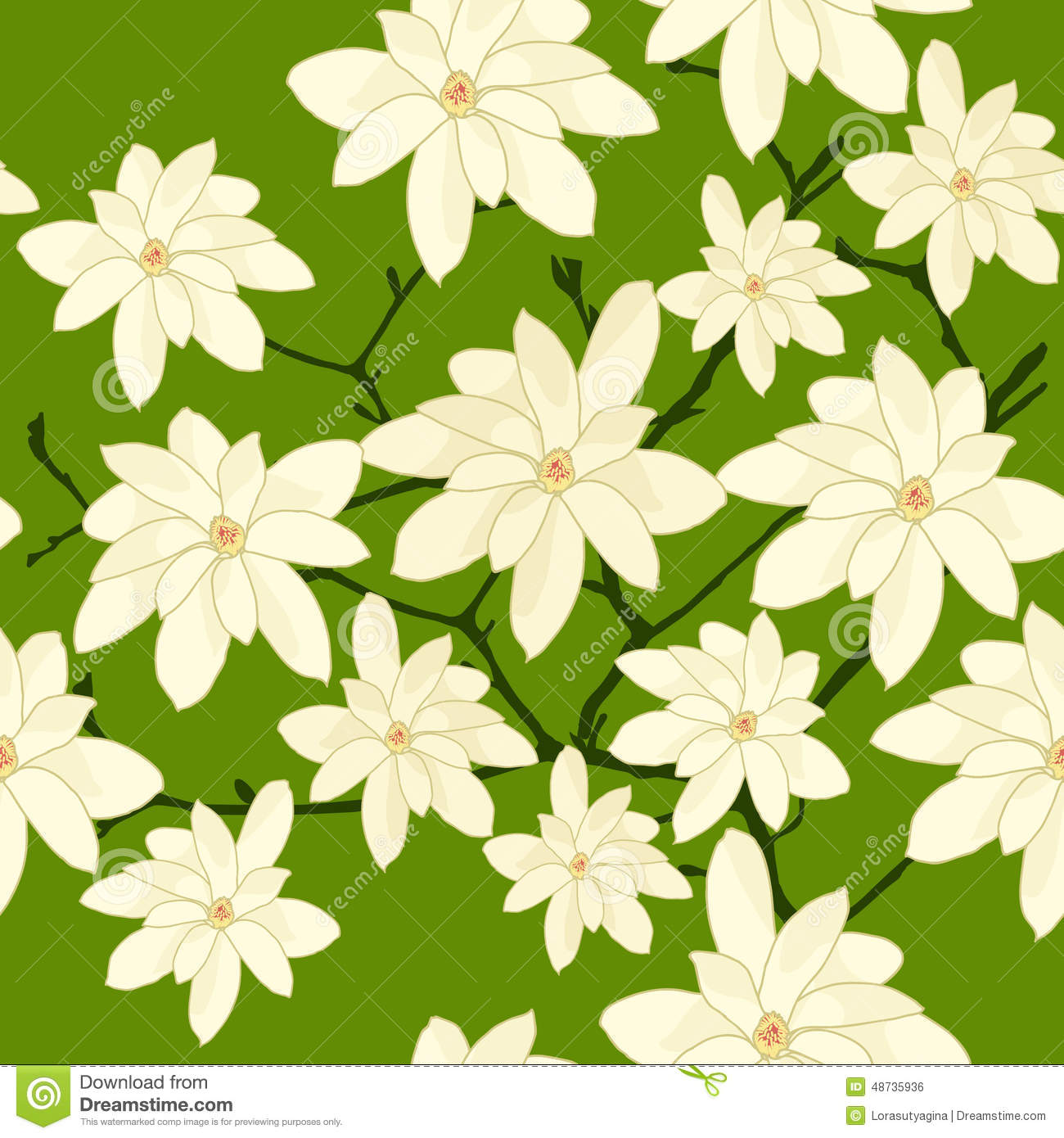 Seamless Pattern With White Magnolia Branch On A Green Background Plain Flowers For Wallpaper Or Decoration