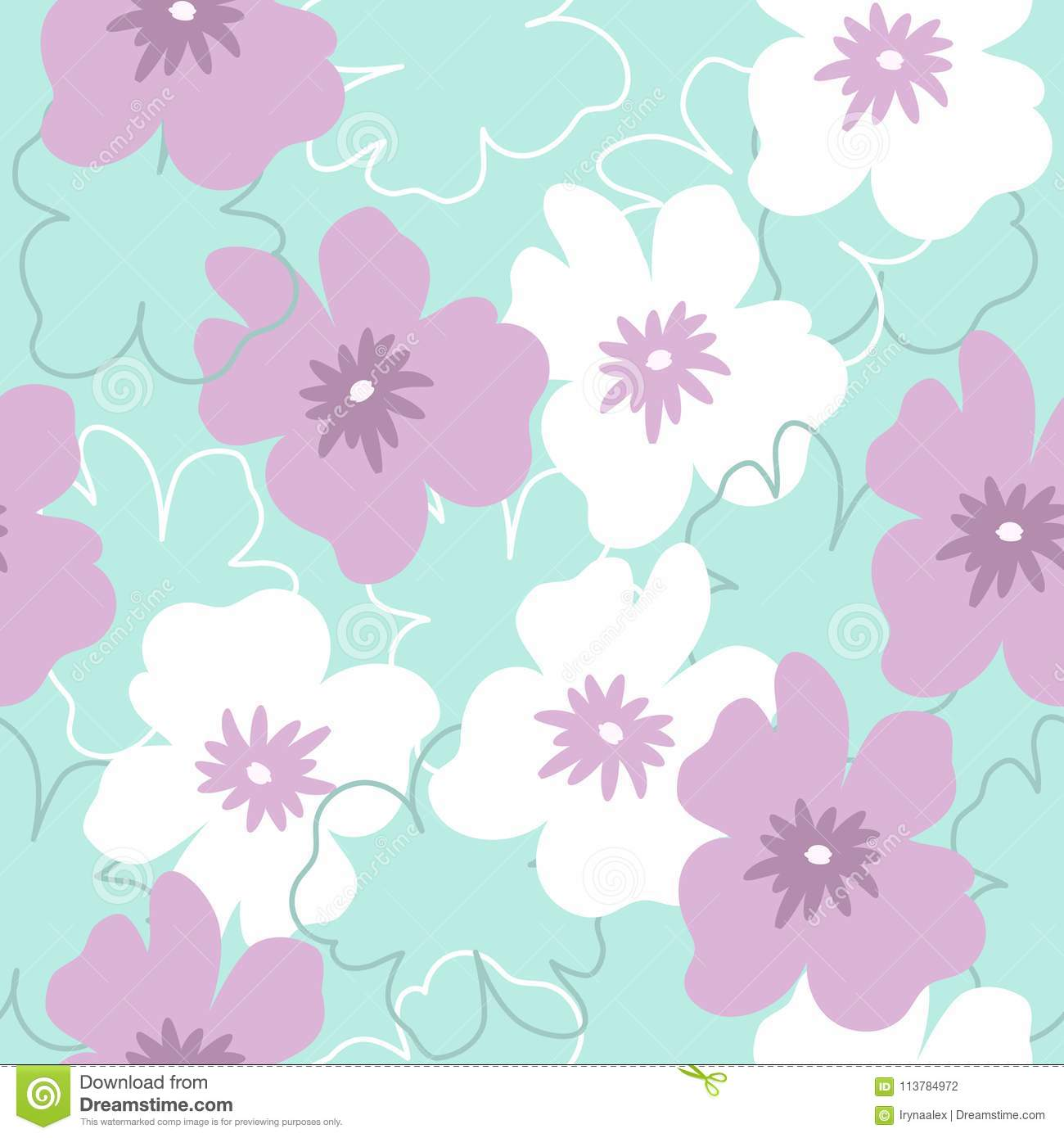Seamless pattern with white and purple flowers on a turquoise download seamless pattern with white and purple flowers on a turquoise background stock vector illustration mightylinksfo