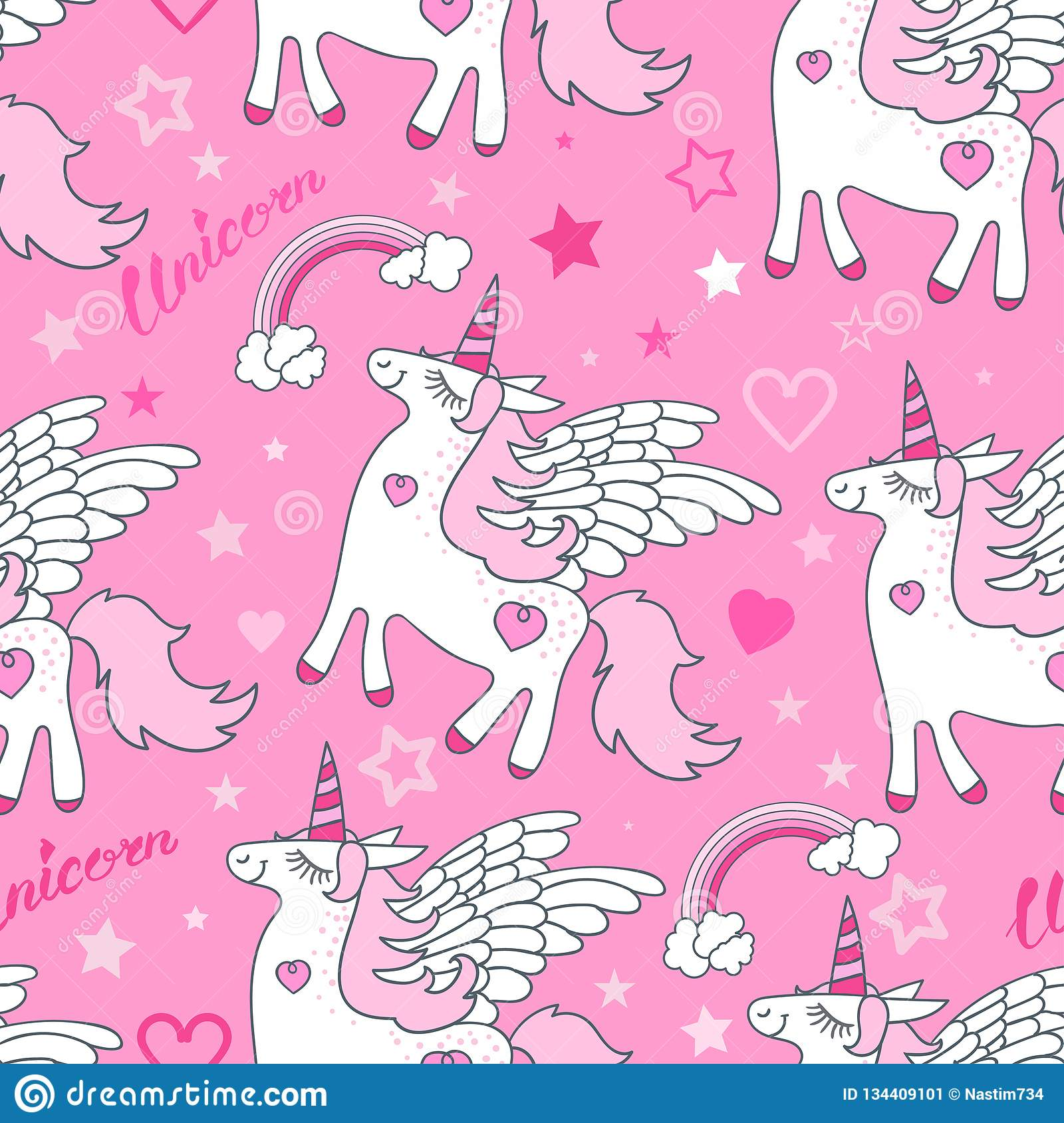 Seamless pattern. White unicorn on a pink background. Vector