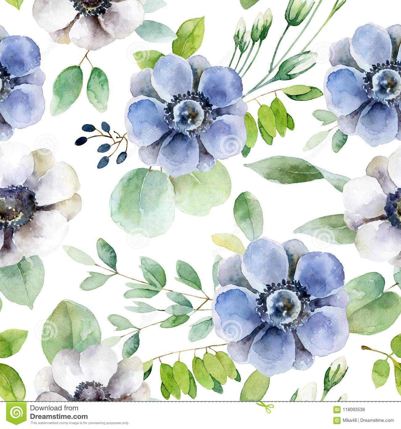 Seamless pattern with white and violet anemones