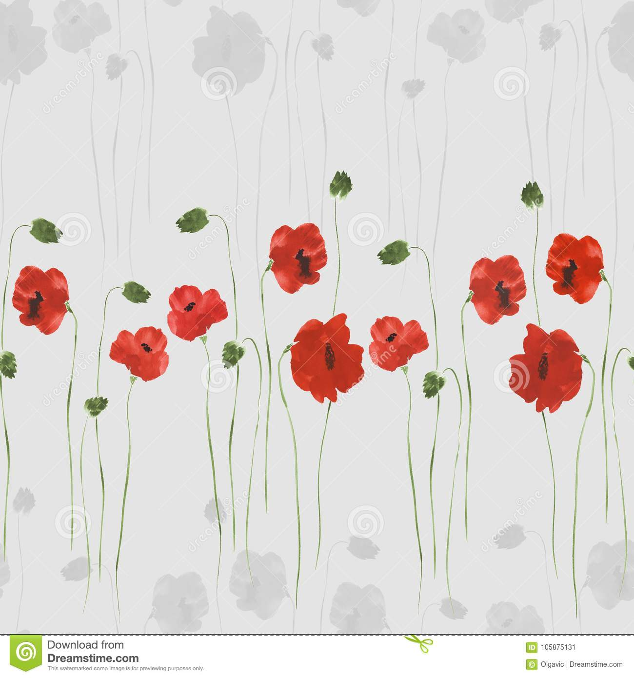 Seamless pattern of red and gray flowers of poppies with green stems seamless pattern of red and gray flowers of poppies with green stems on a light gray mightylinksfo
