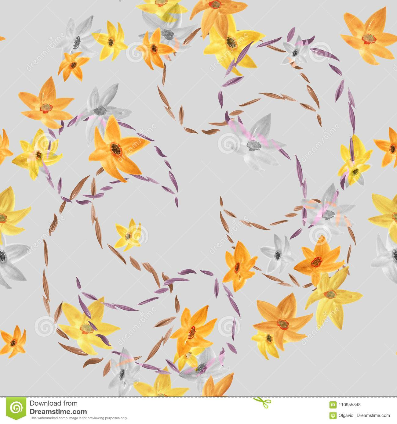 Seamless Pattern Of Yellow And Gray Flowers With Outlines Of Paisley