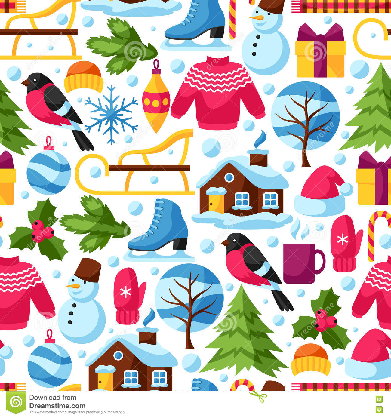 Background with winter objects merry christmas happy new for Christmas items