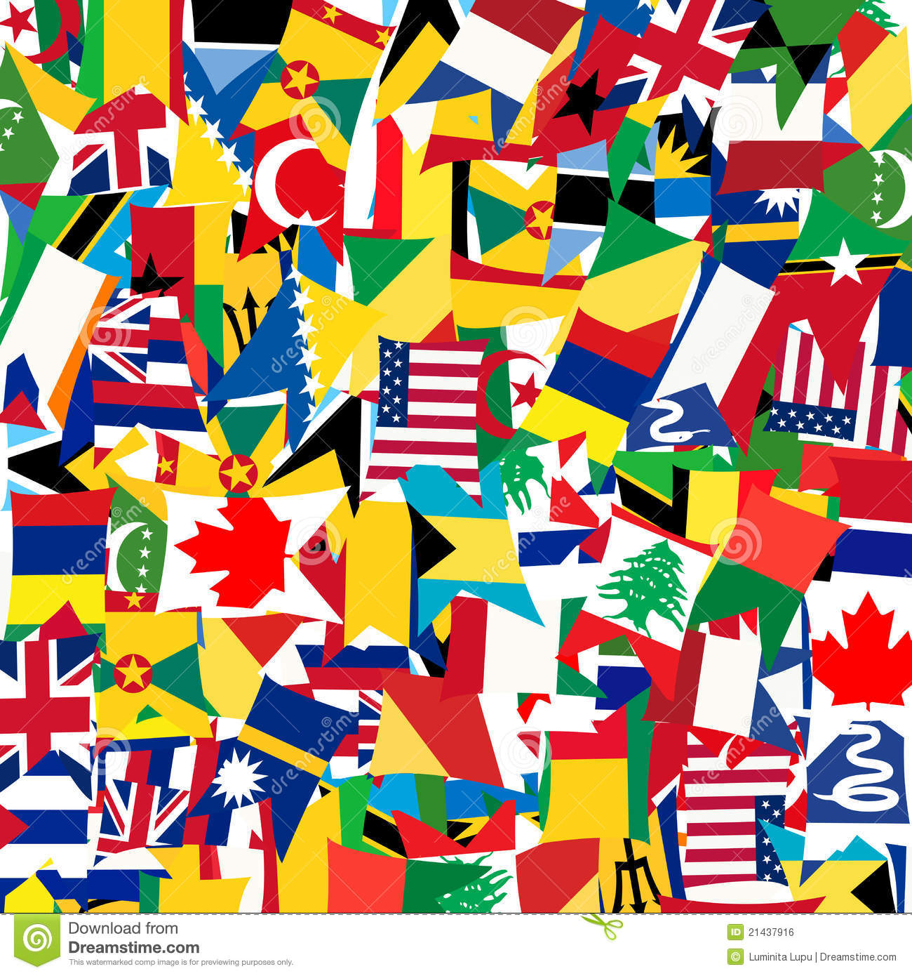 Seamless Pattern With Worlds Flags Stock Vector Illustration Of