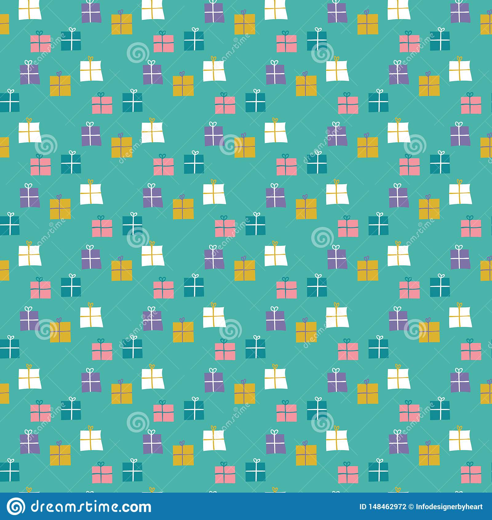 Seamless pattern of wrapped gifts on a mint green background.
