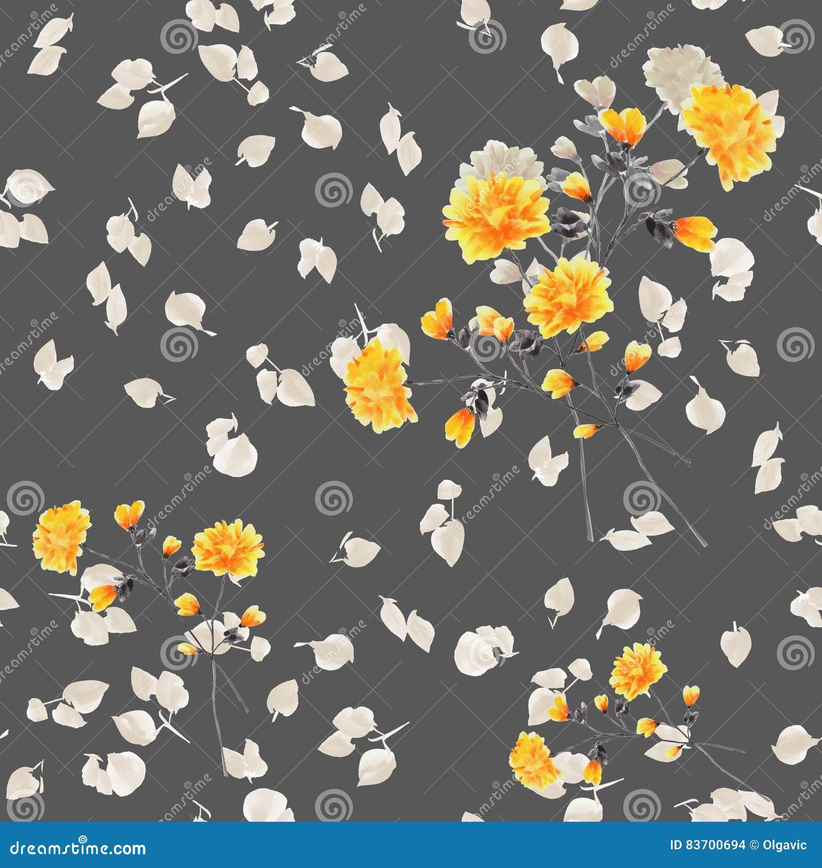 Seamless pattern of yellow flowers and branches on a deep gray seamless pattern of yellow flowers and branches on a deep gray background watercolor mightylinksfo
