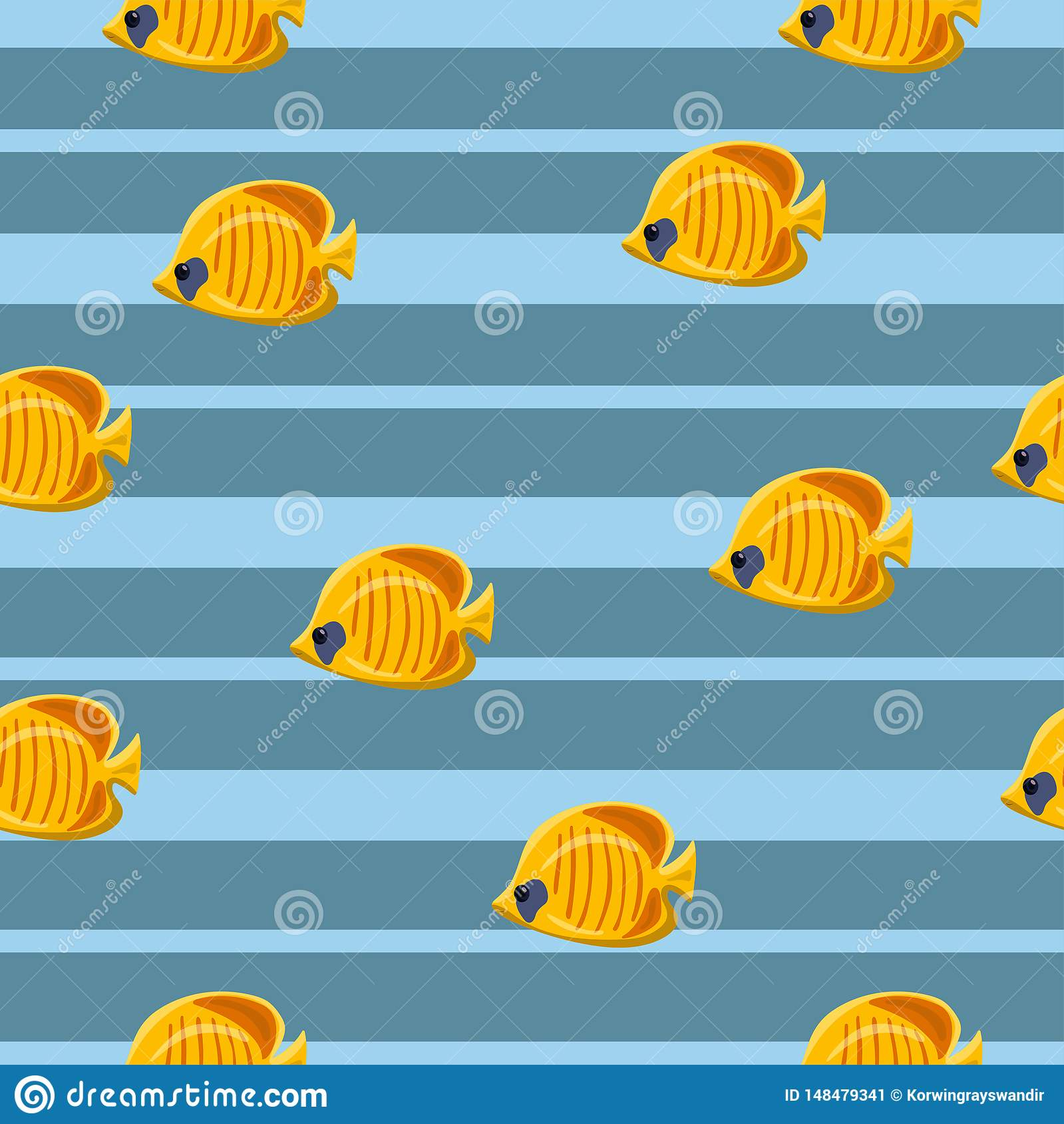 Seamless pattern with yellow tropical sea fishes on blue background. Vector illustration