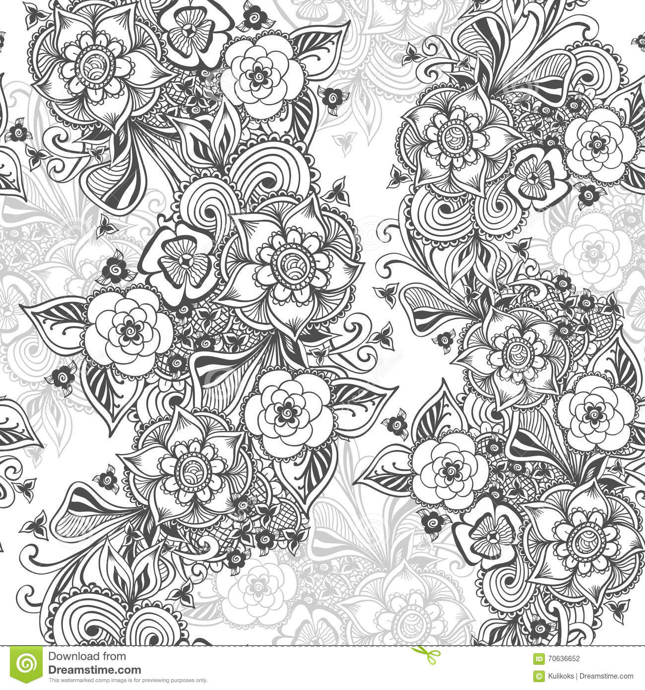 Zen coloring flowers - Coloring Book Wallpaper Seamless Pattern In Zen Doodle Flowers Style Black On White