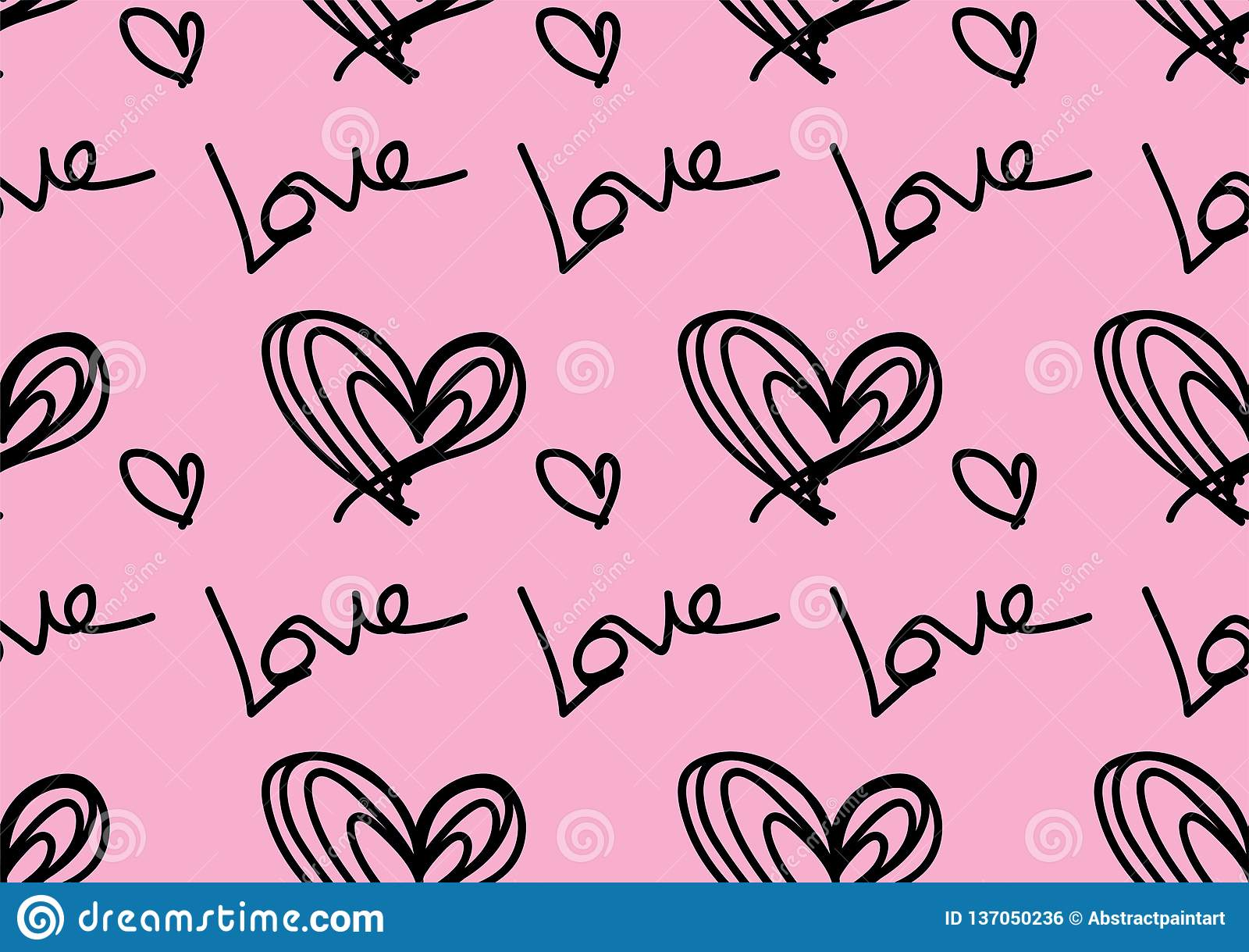 Seamless Patterns With Black Hearts Love Background Heart Shape