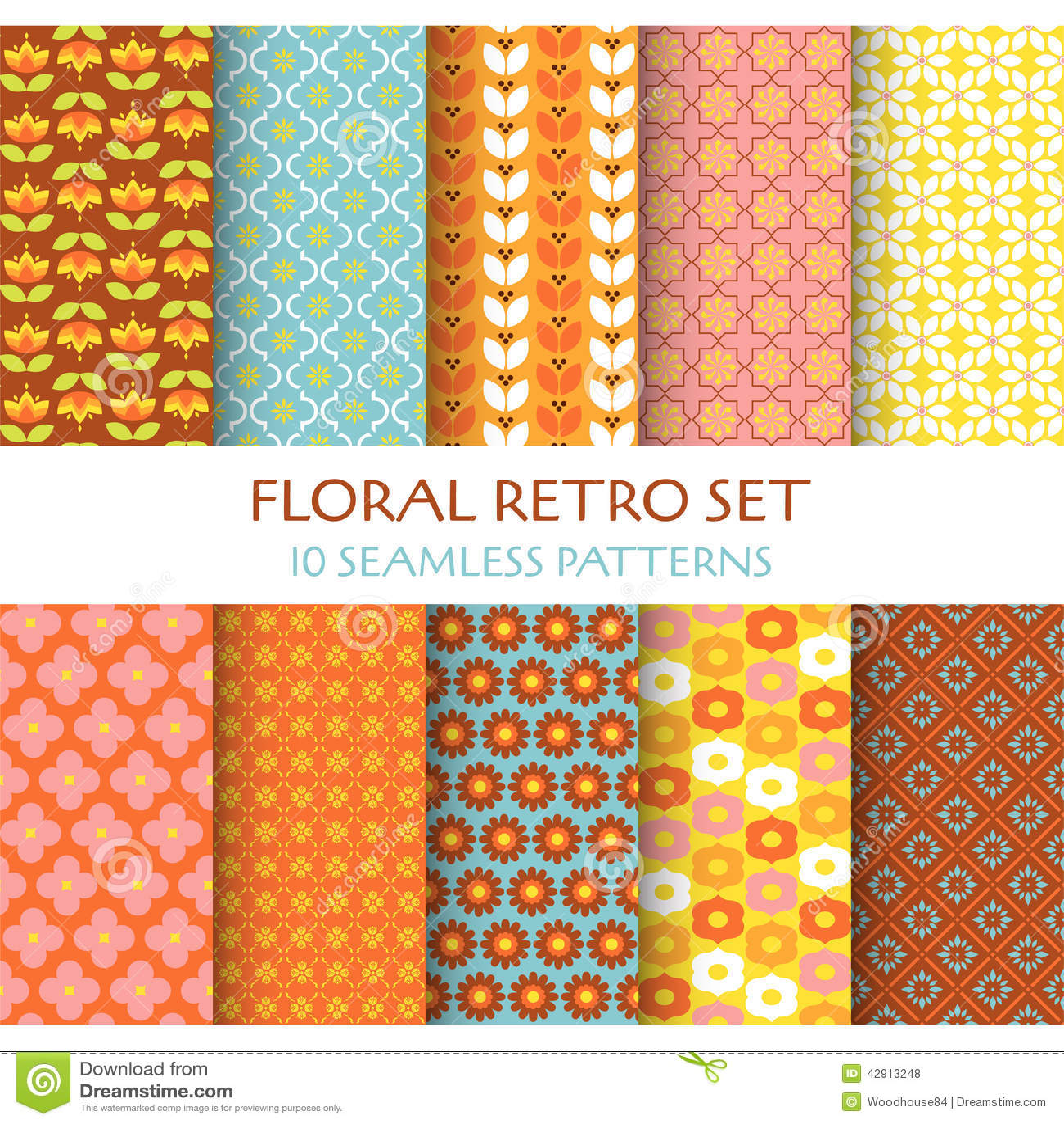 10 Seamless Patterns - Floral Retro