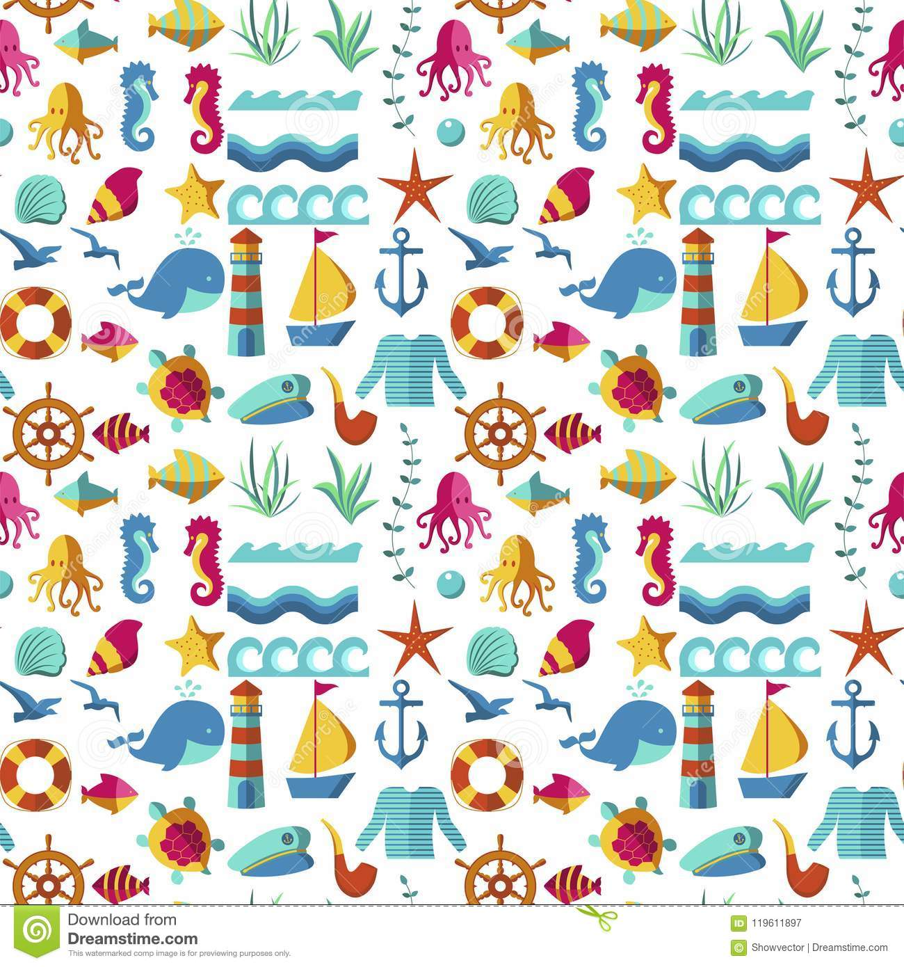 Seamless Patterns With Nautical Elements Wave Paper Ocean Sea Blue