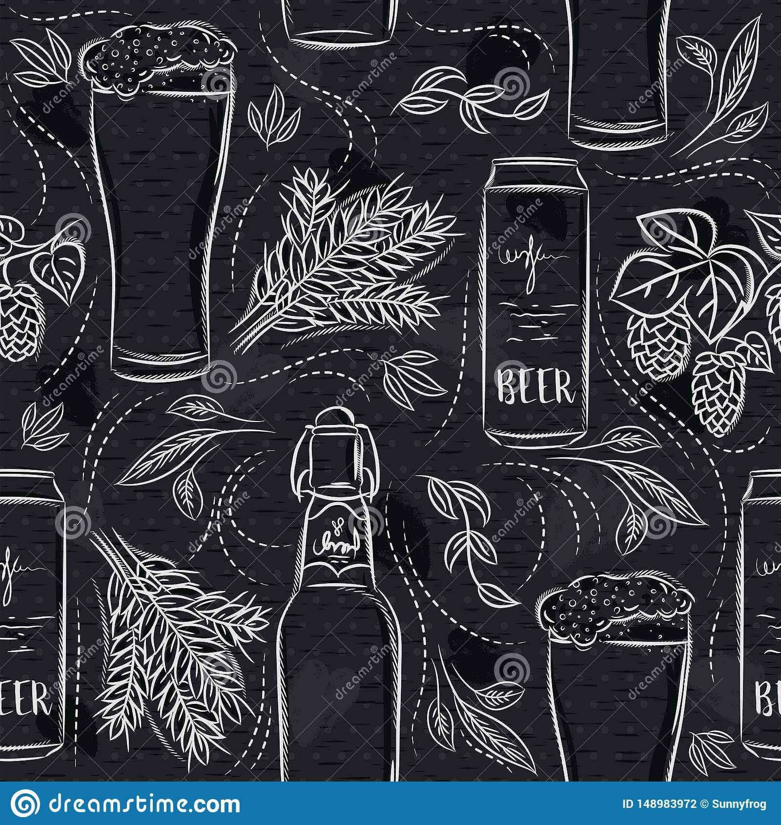 Seamless Patterns With Set Of Beer Bottle, Mug, Barley And Hop On
