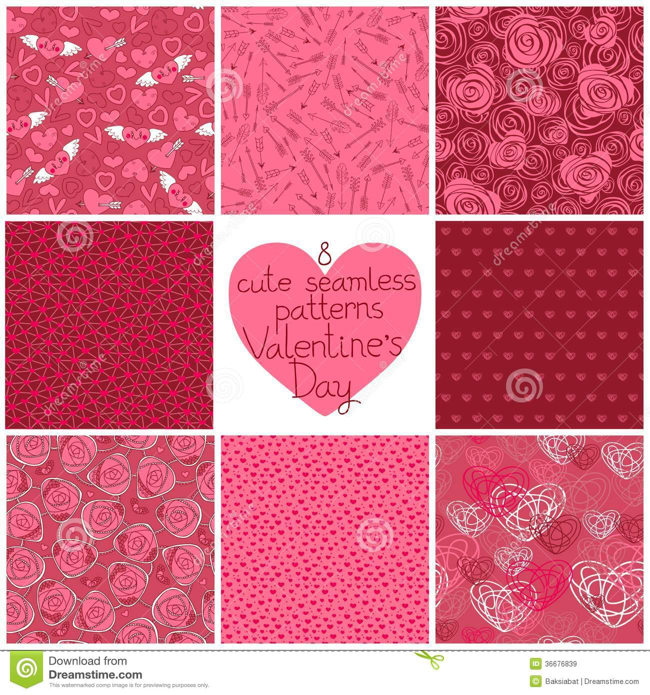 Seamless Patterns Valentine S Day Stock Vector Image 36676839