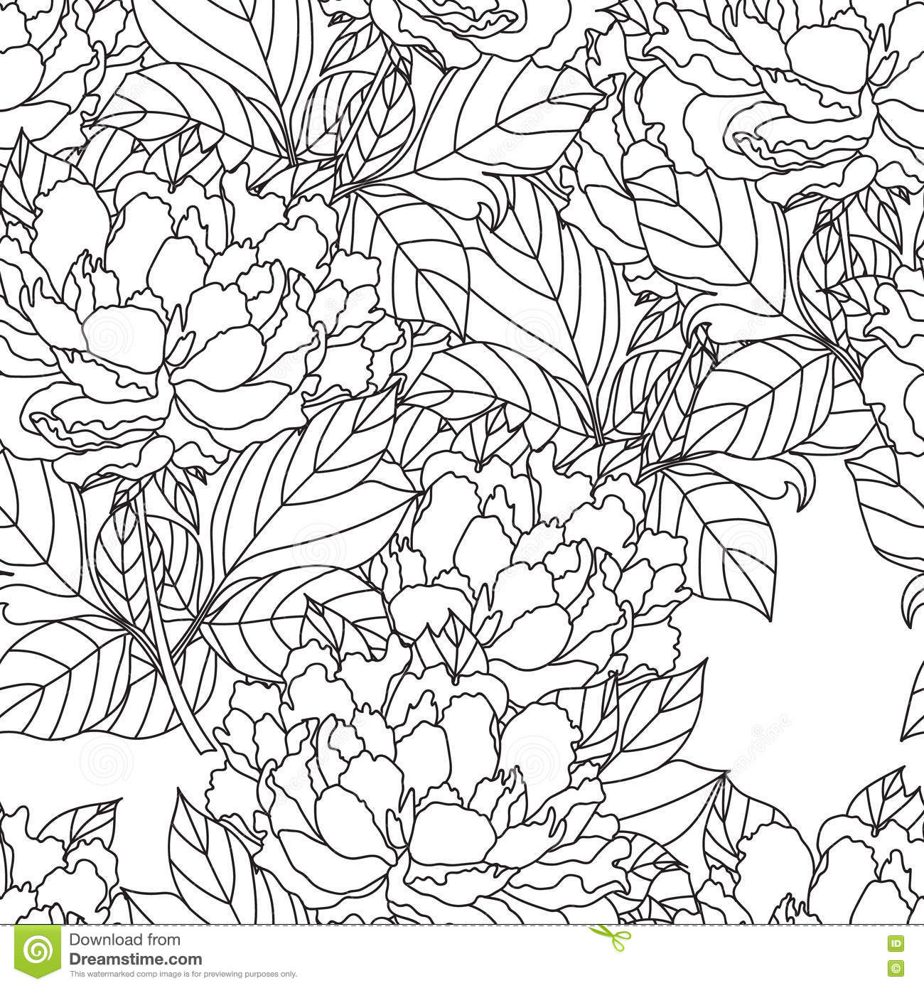 seamless peony bouquet vector coloring book page for adults hand