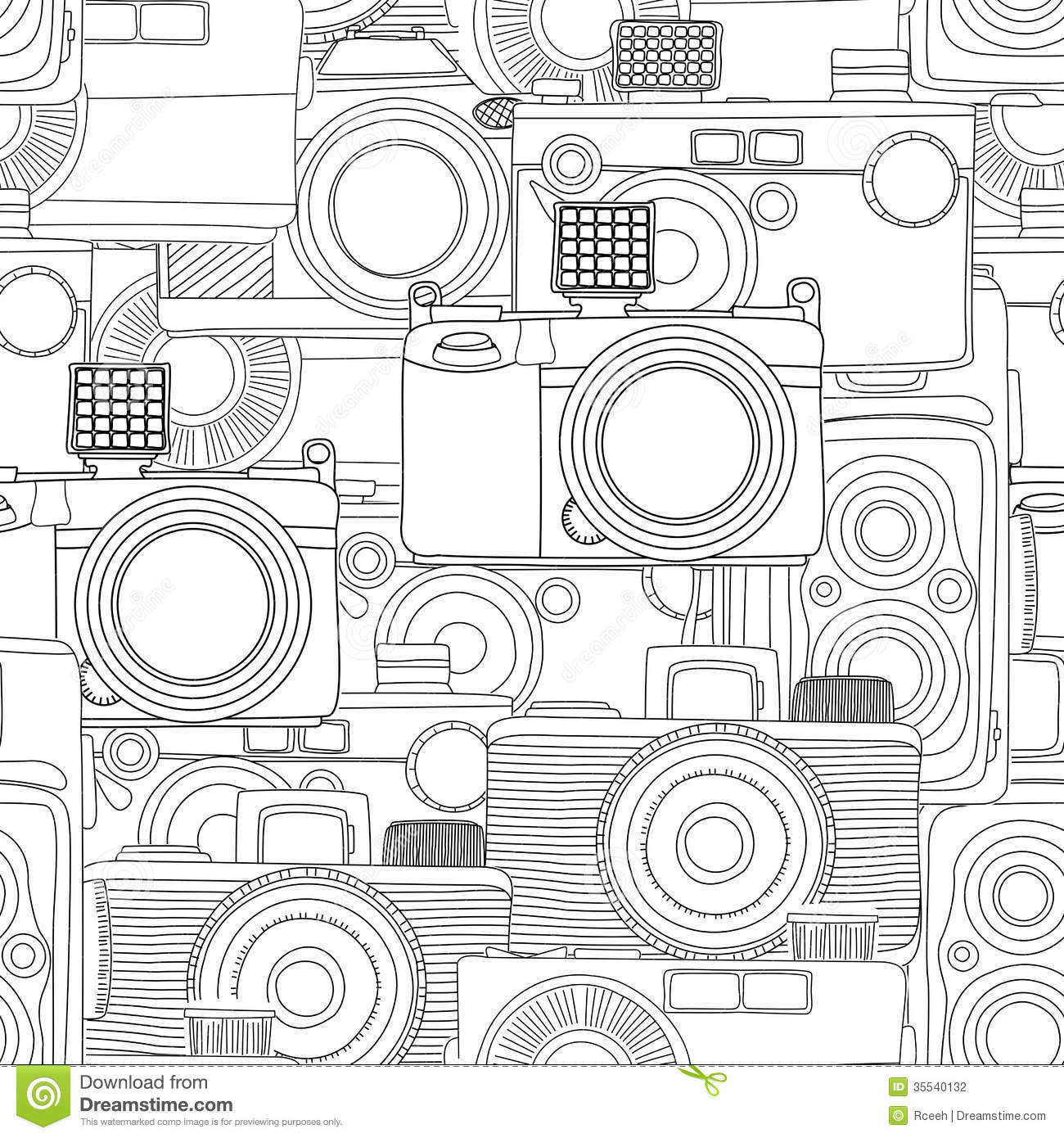 Black And White Photography Pattern : Seamless photography pattern stock vector image